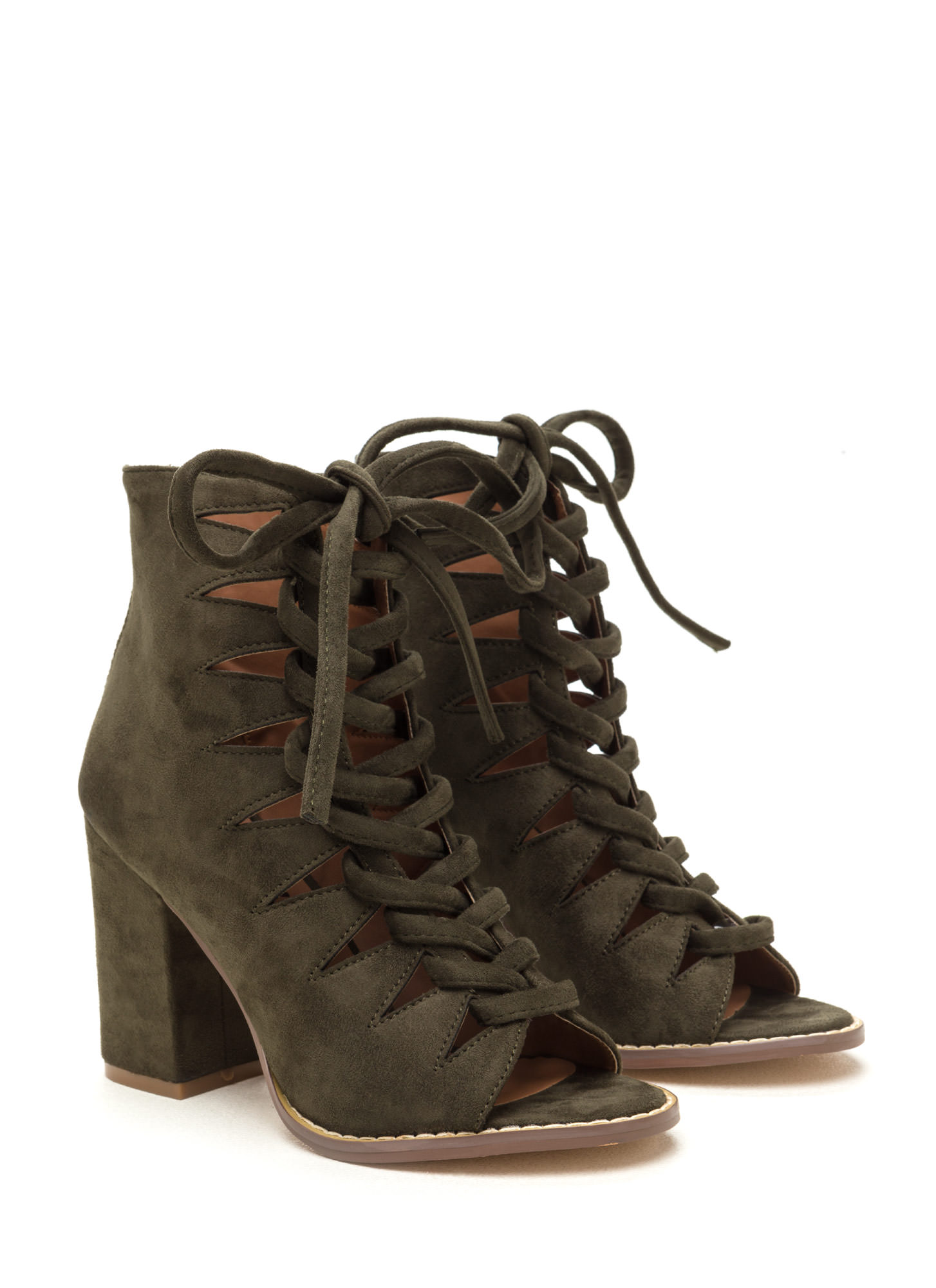 Street Cred Chunky Laced Cut-Out Booties OLIVE