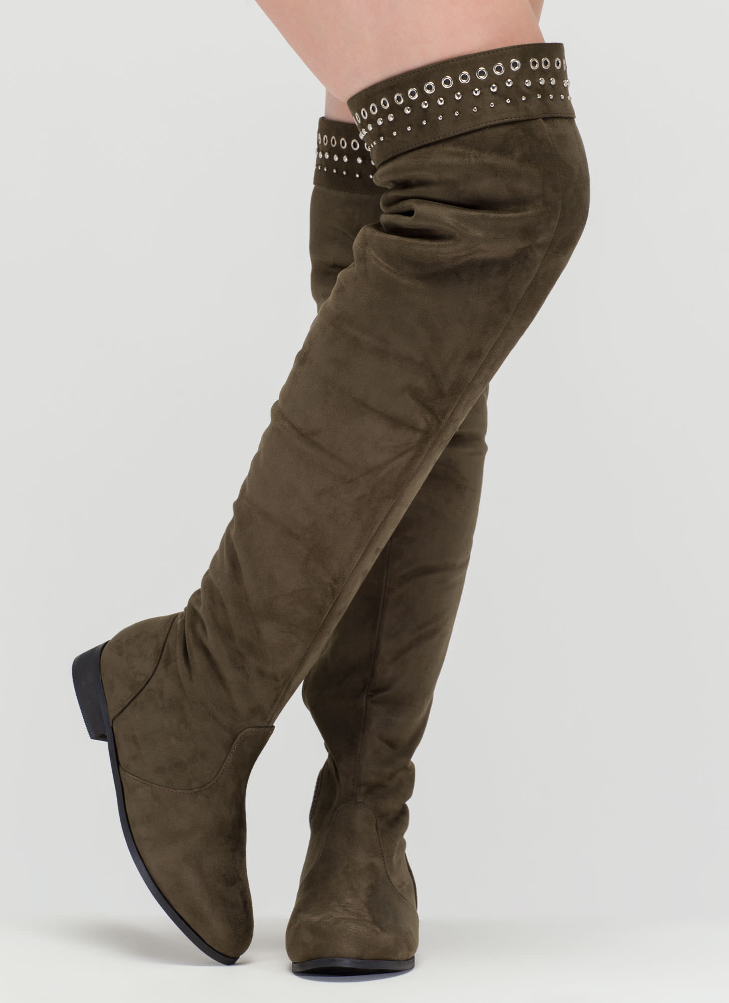 Fashion Mastermind Thigh-High Boots OLIVE