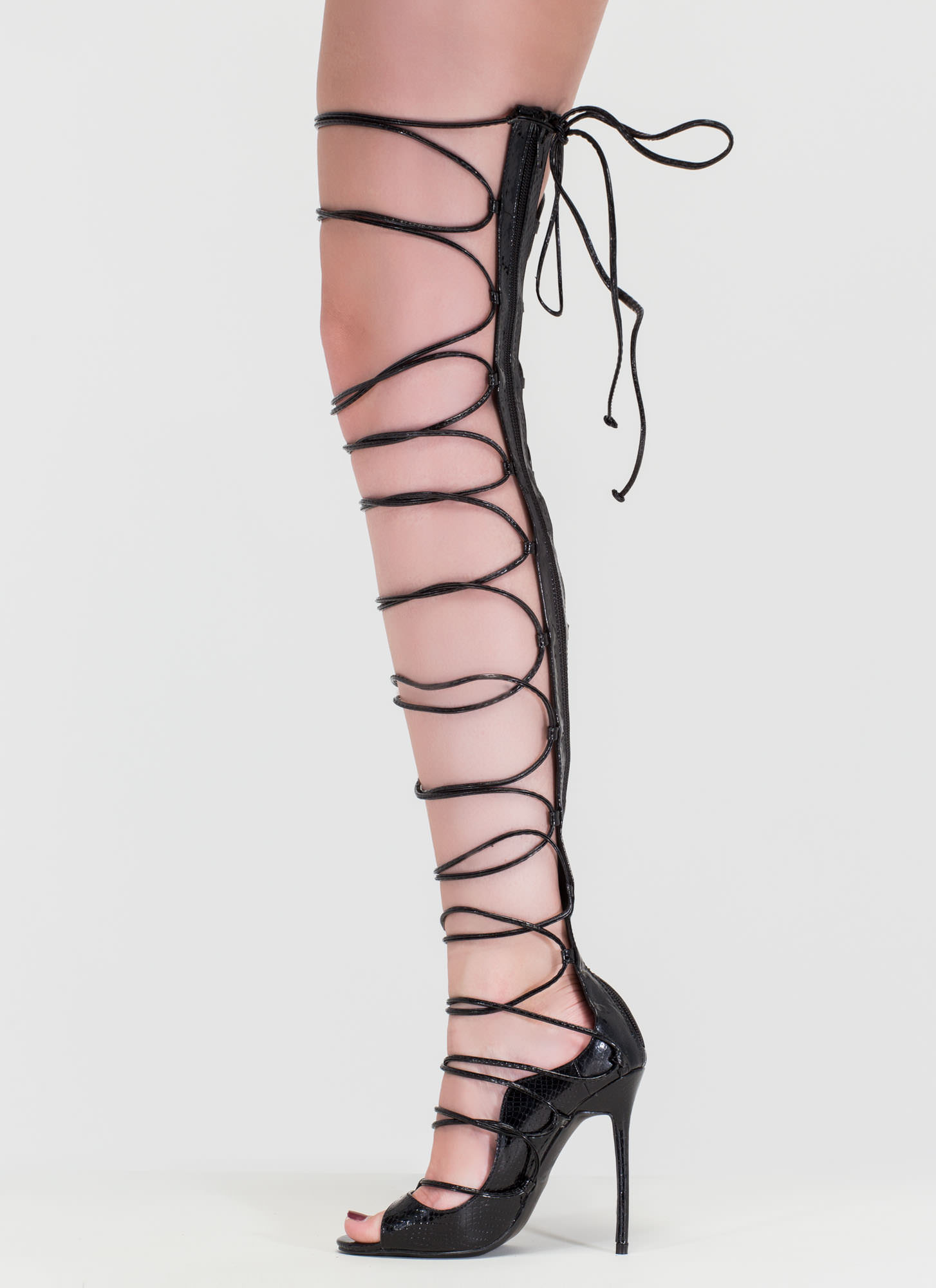 Snake A Look Lace-Up Faux Patent Heels BLACK