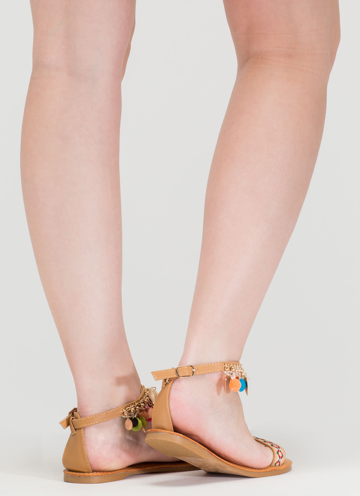Be-Leaf In You Charm Tribal Sandals NATURAL