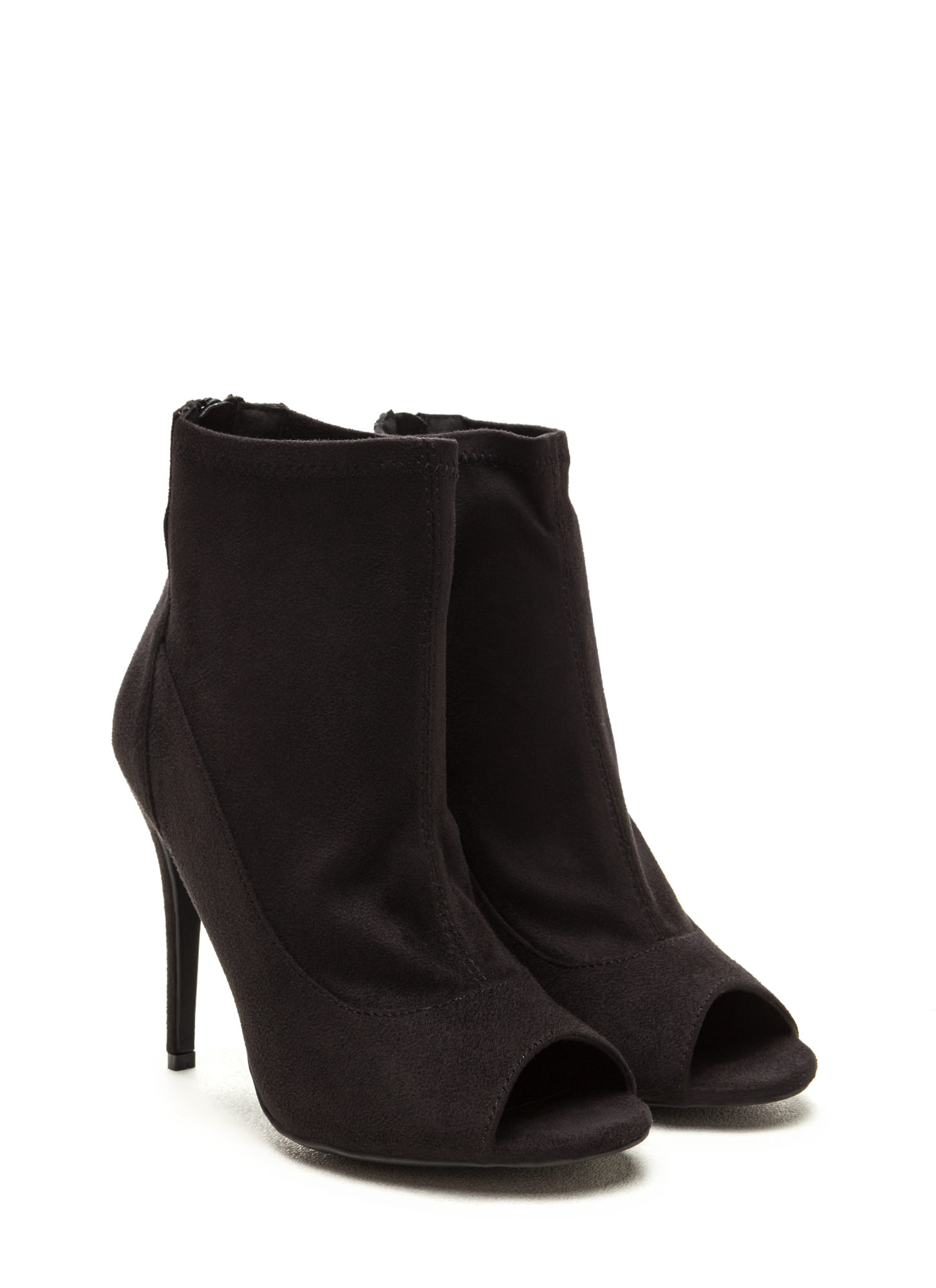 Sleek Finish Heeled Peep-Toe Booties BLACK
