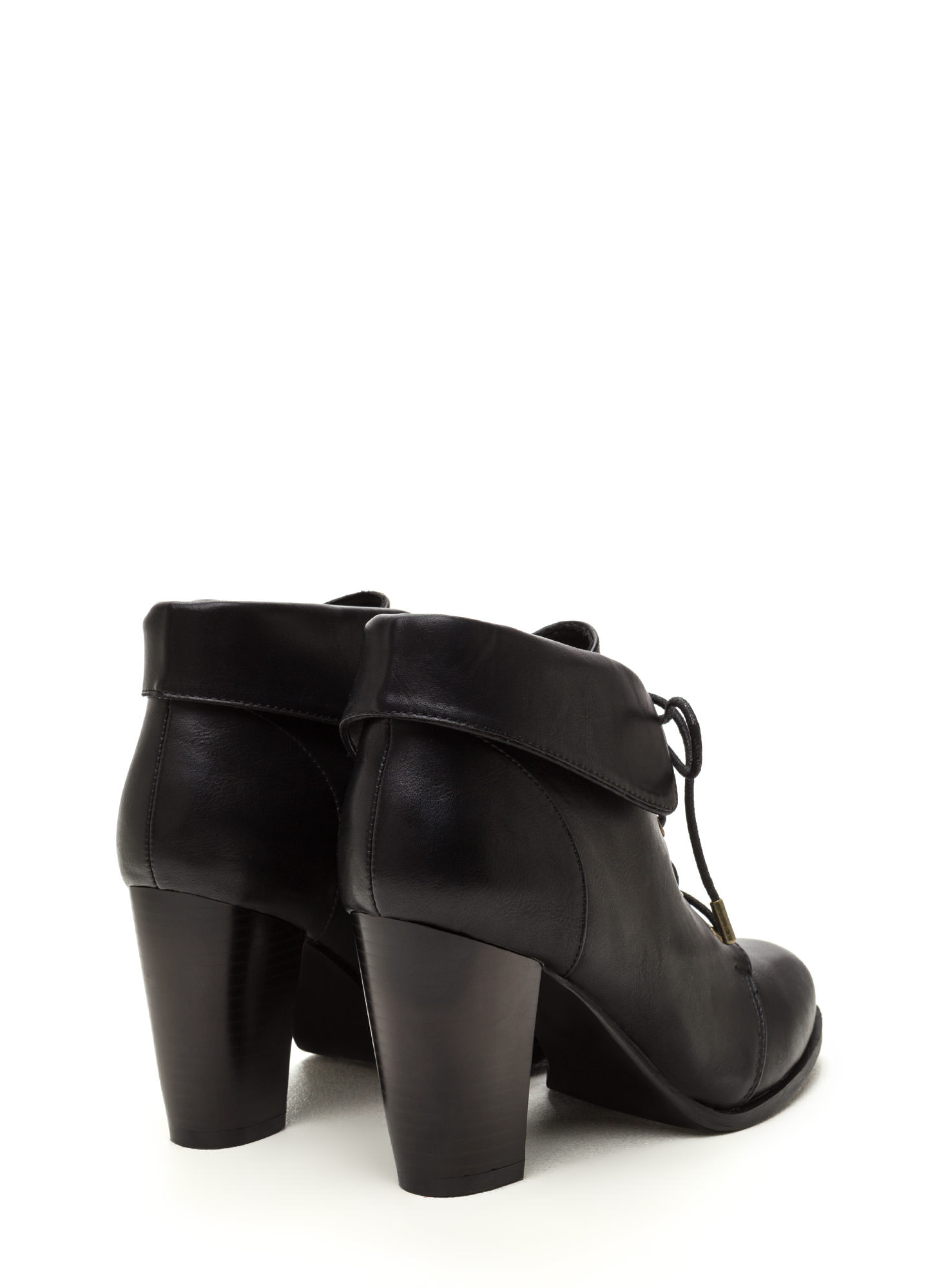 Fold Move Faux Leather Lace-Up Booties BLACK