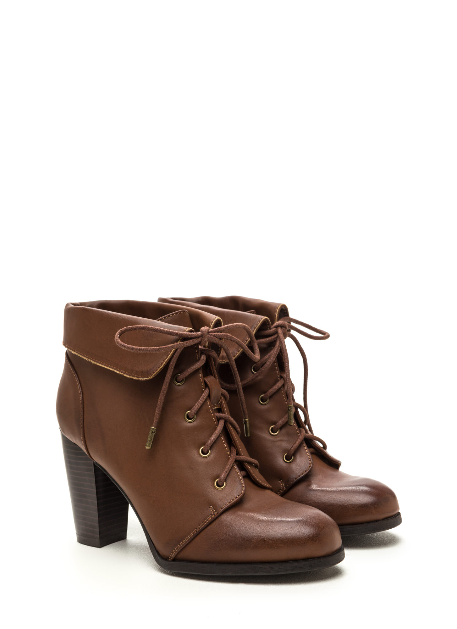 Fold Move Faux Leather Lace-Up Booties CHESTNUT