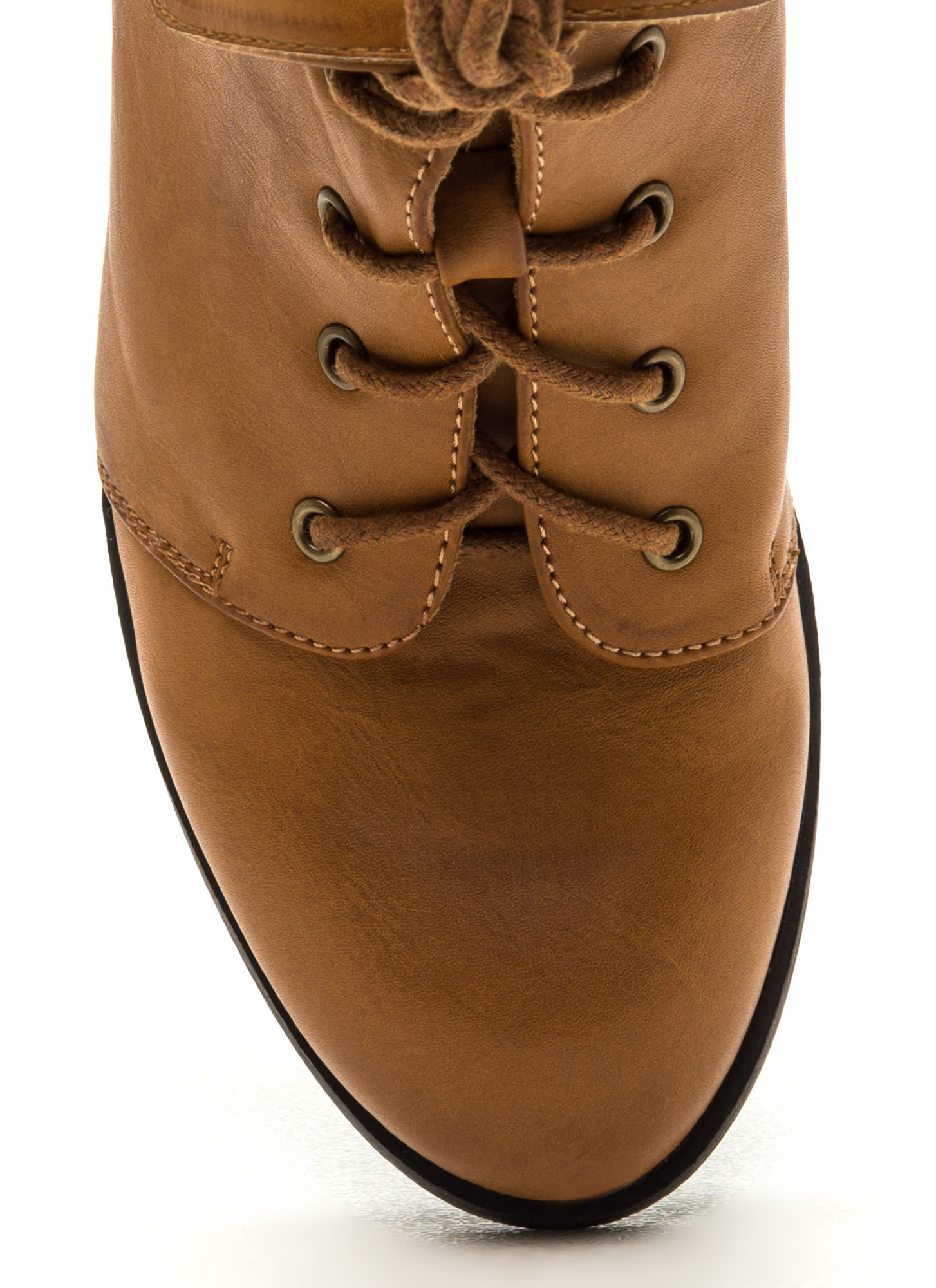 Fold Move Faux Leather Lace-Up Booties TAN