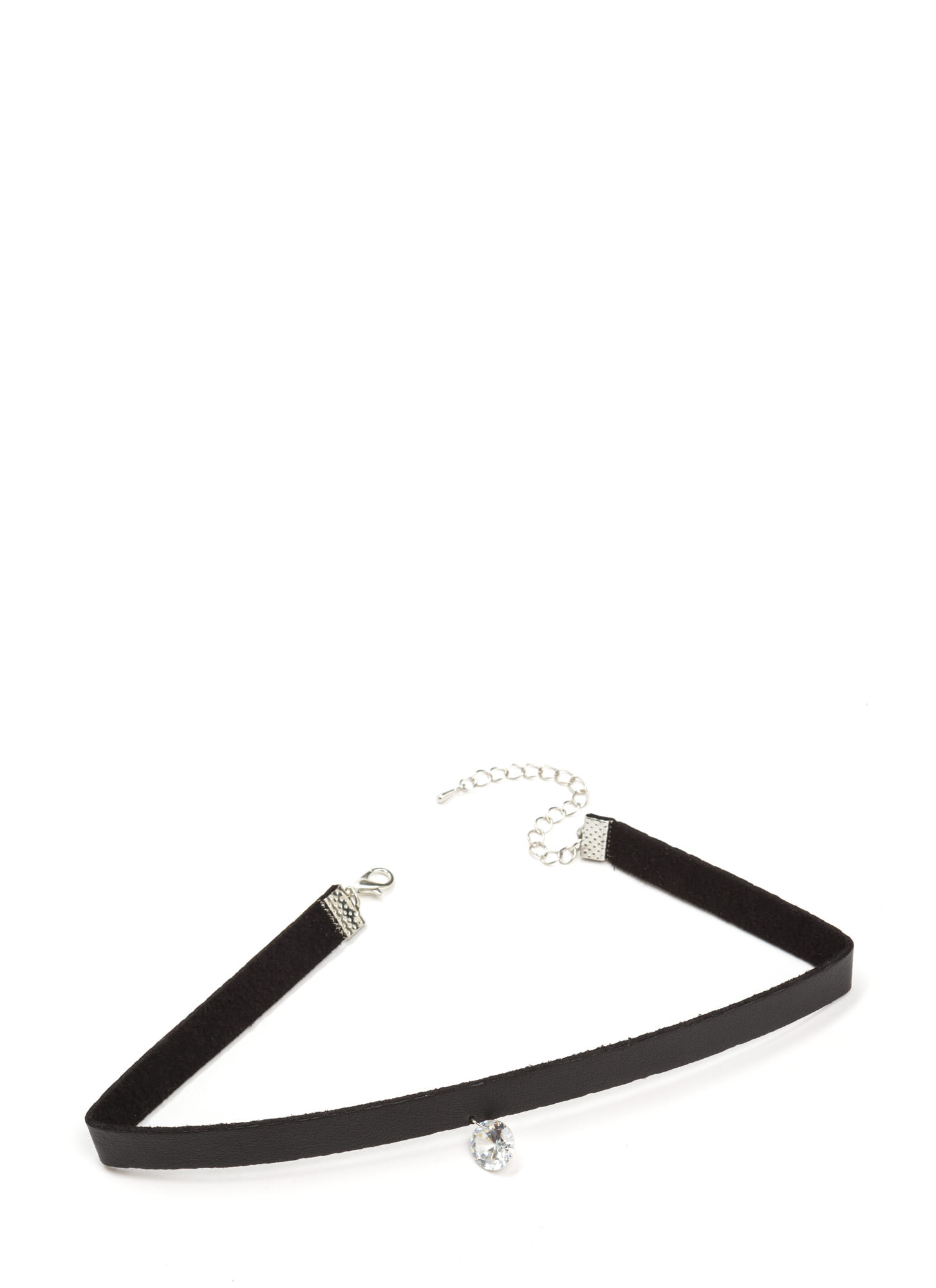Crystal Clear Faux Leather Choker BLACKSILVER