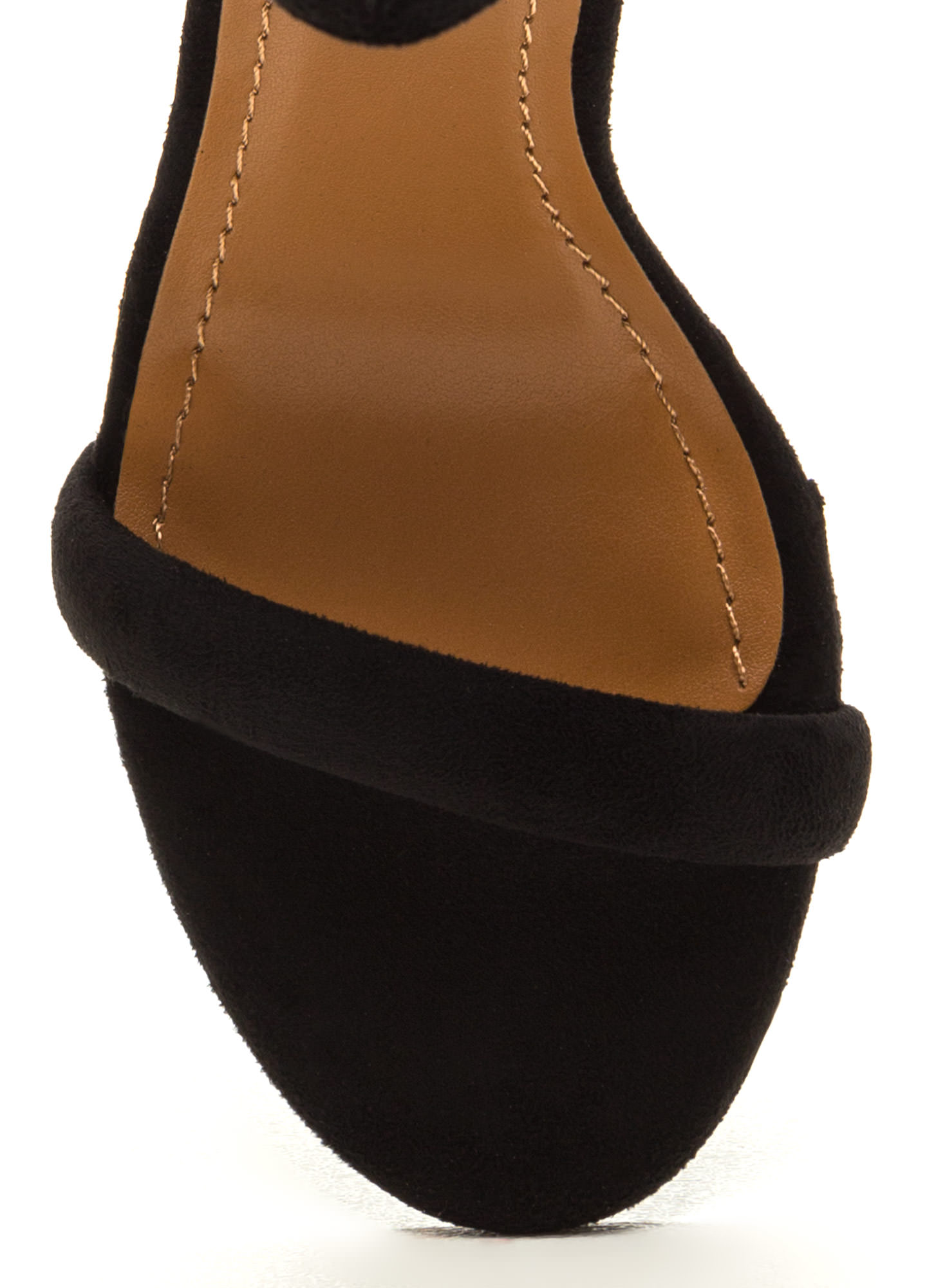 Cushy Lifestyle Chunky Faux Suede Heels BLACK