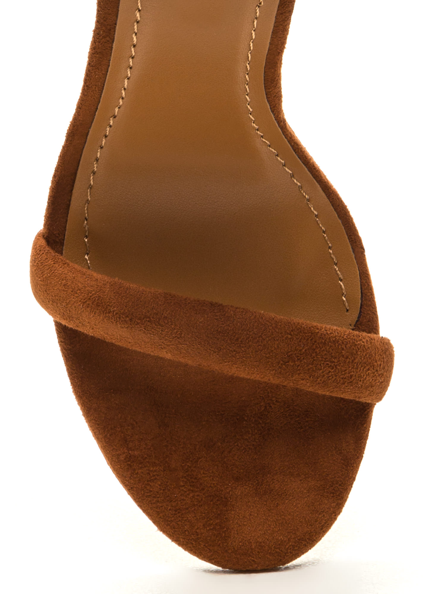 Cushy Lifestyle Chunky Faux Suede Heels CHESTNUT