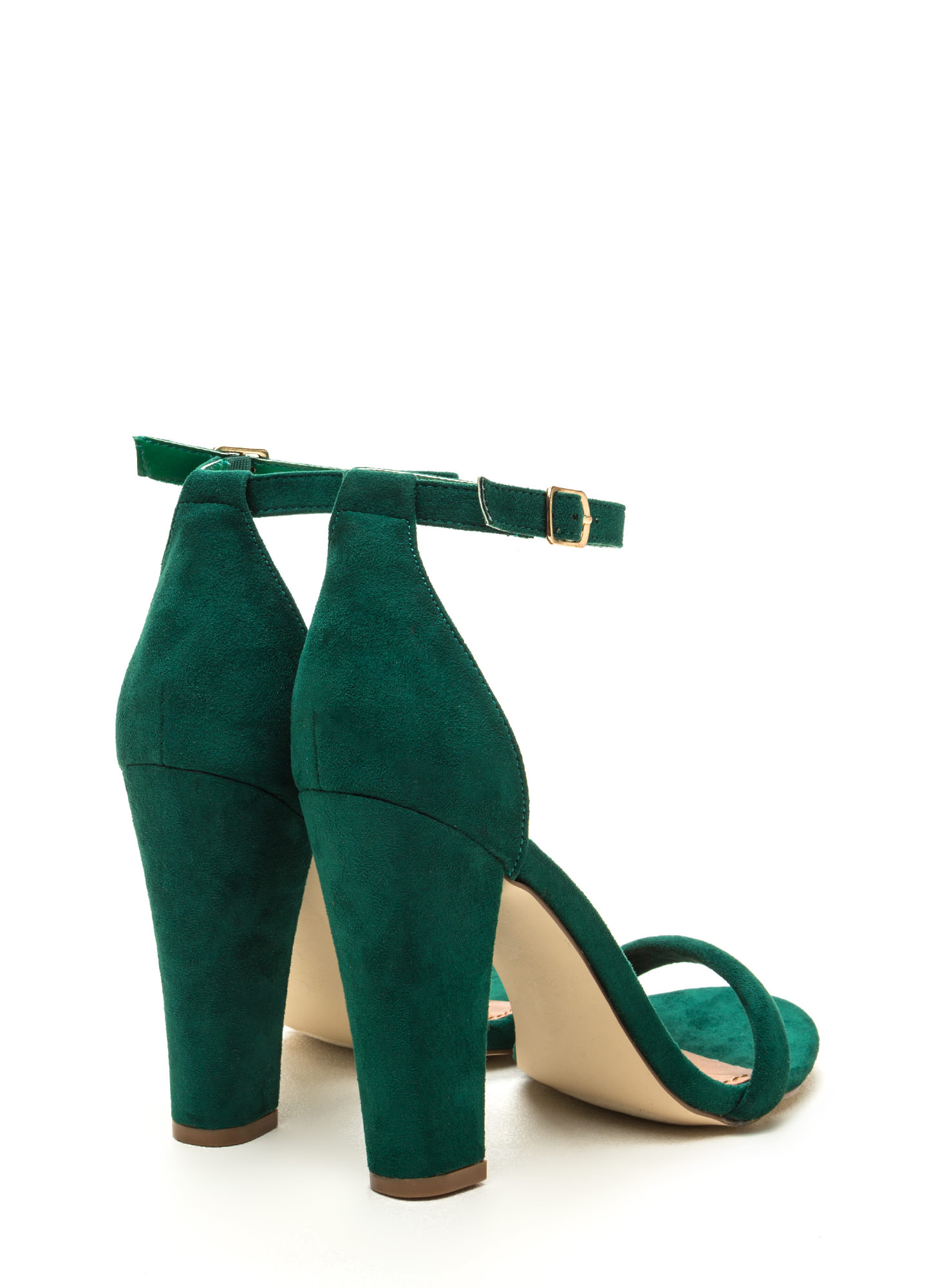 Cushy Lifestyle Chunky Faux Suede Heels GREEN