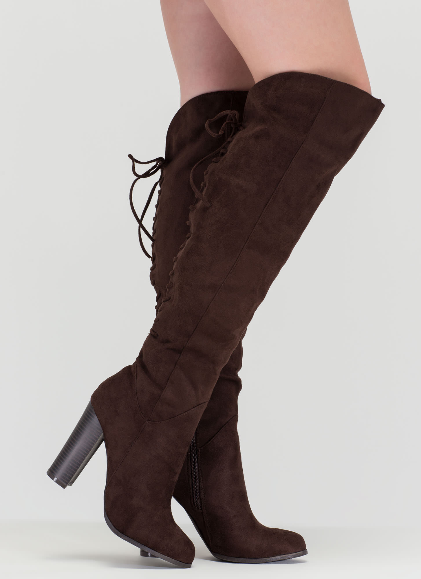 Encore Please Over-The-Knee Laced Boots BROWN