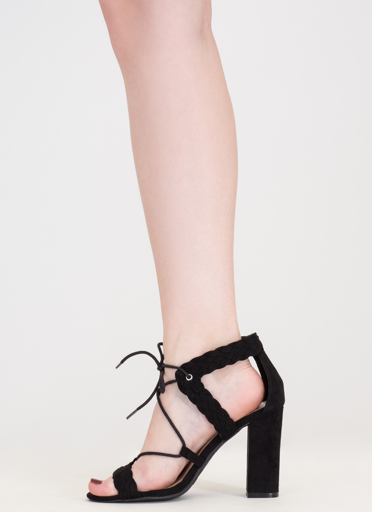 Weave It Alone Lace-Up Chunky Heels BLACK