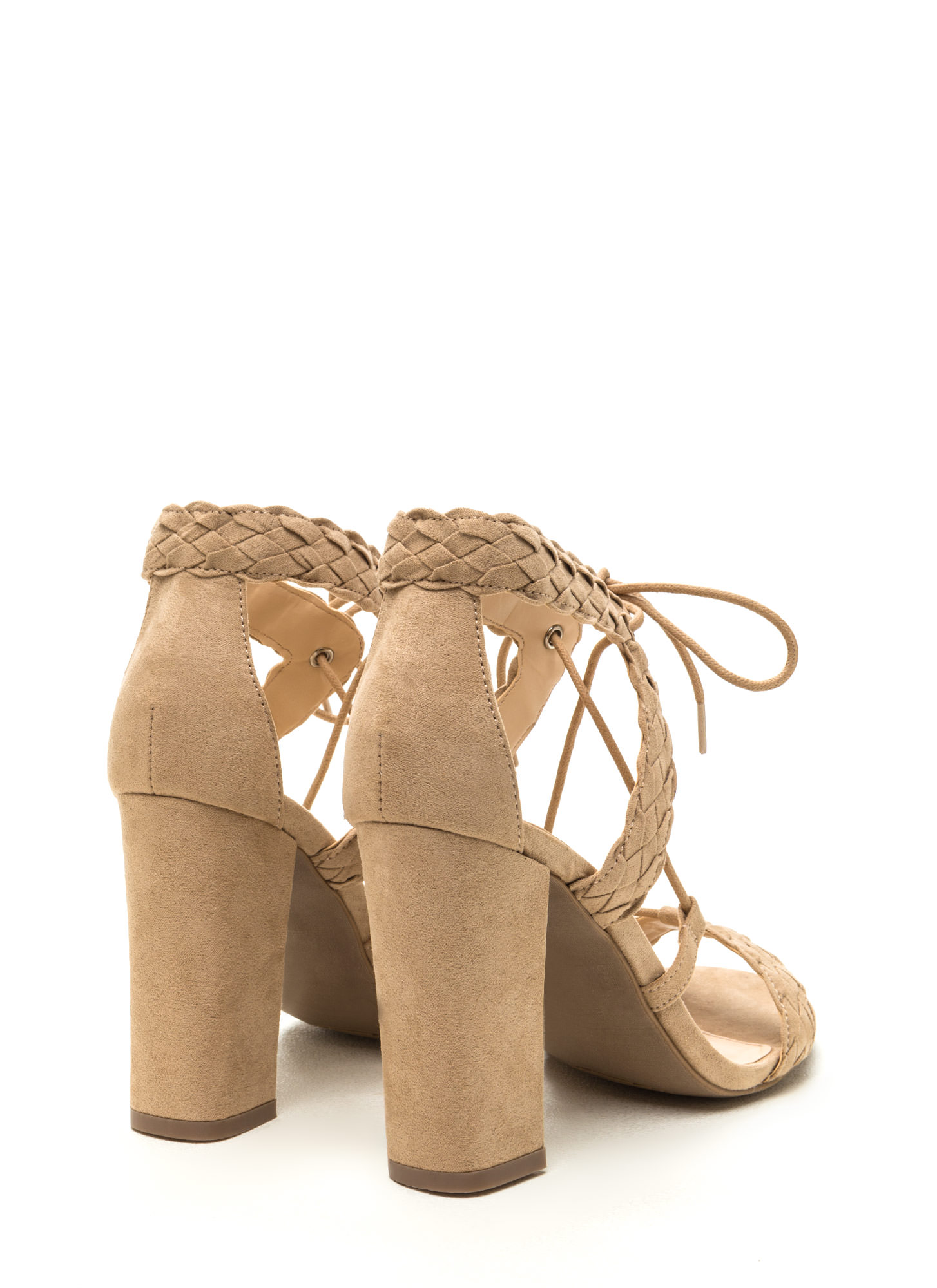 Weave It Alone Lace-Up Chunky Heels NATURAL