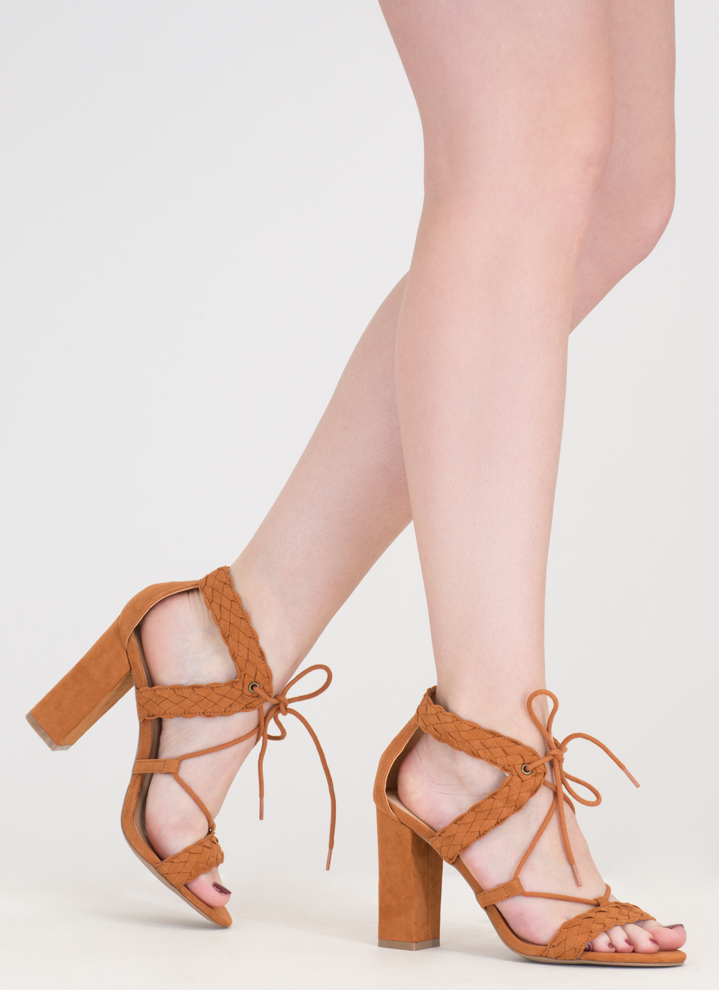 Weave It Alone Lace-Up Chunky Heels WHISKY