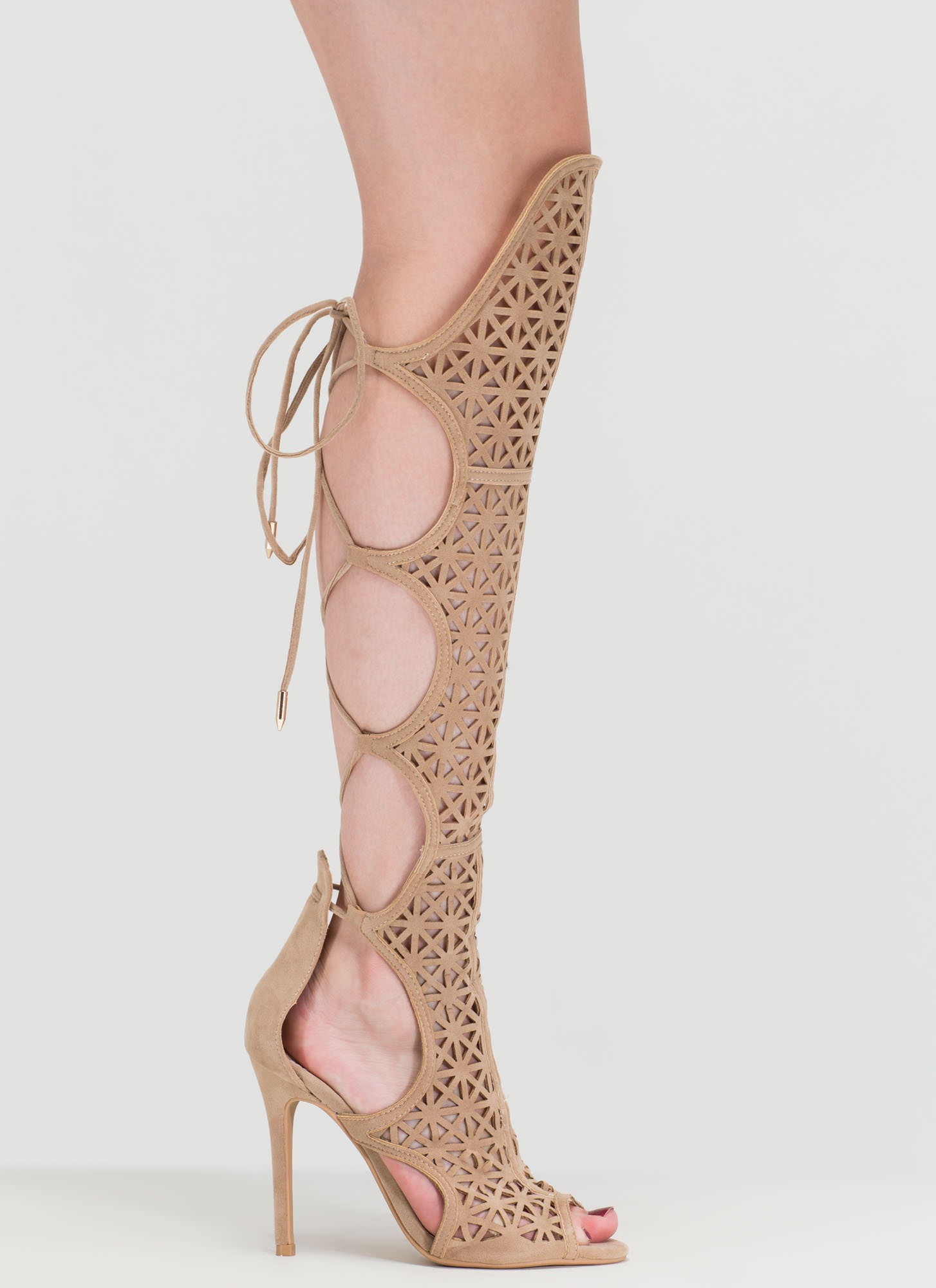 One True Love Cut-Out Gladiator Heels NUDE
