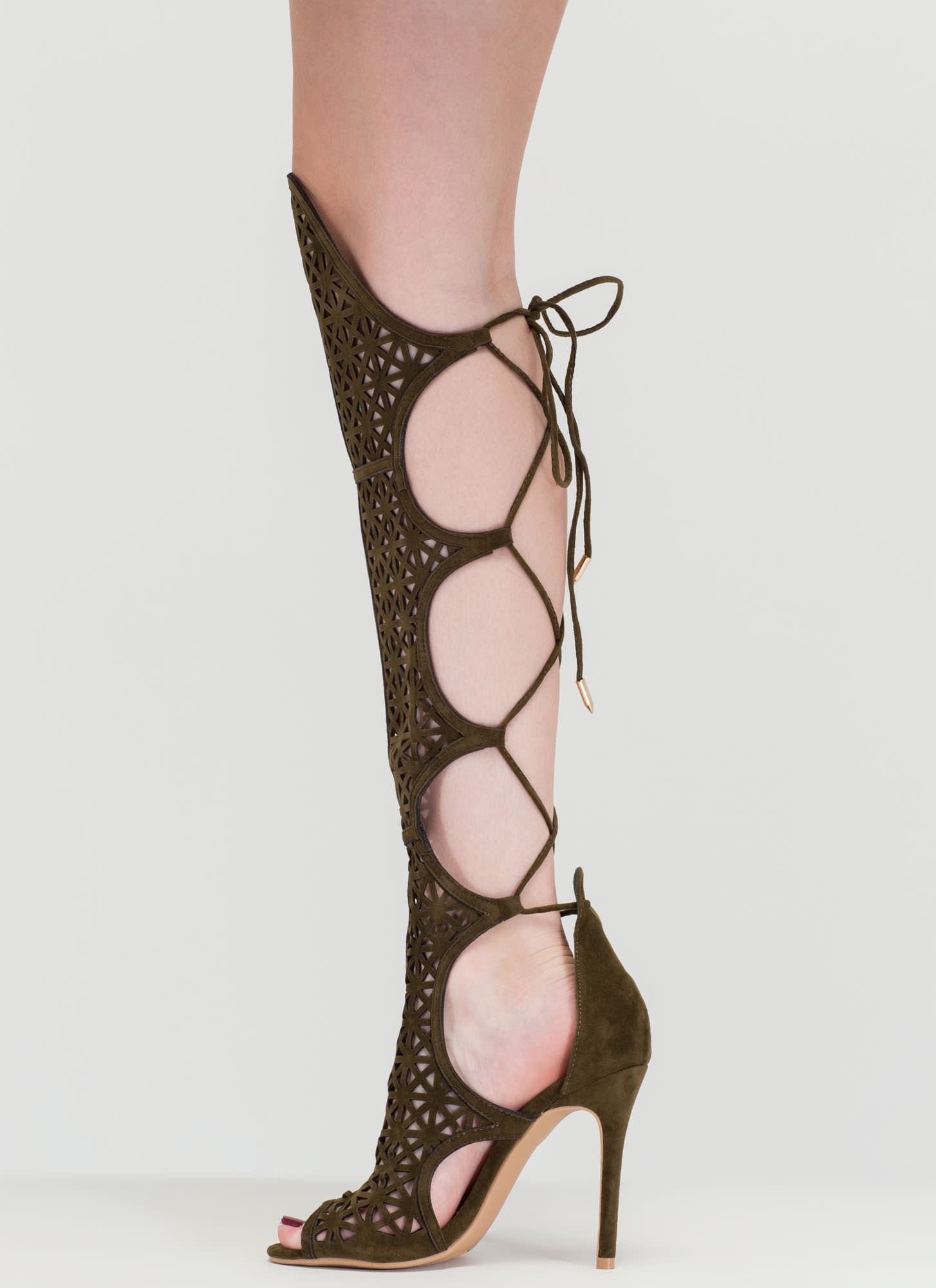 One True Love Cut-Out Gladiator Heels OLIVE
