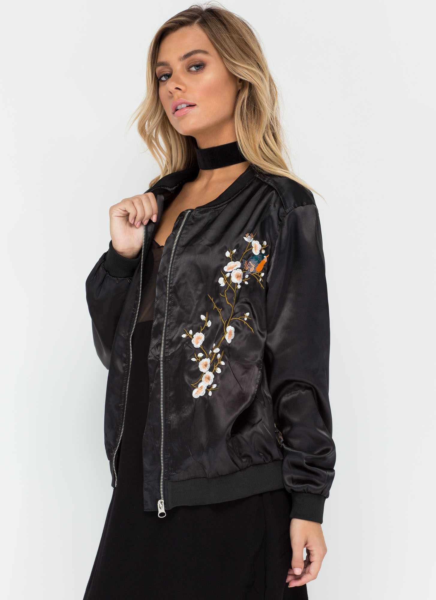 Bloom For Growth Embroidered Bomber BLACK