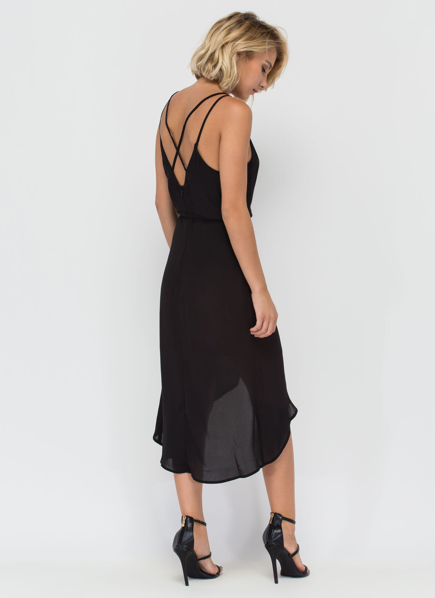 Famously Flirty Woven Surplice Dress BLACK