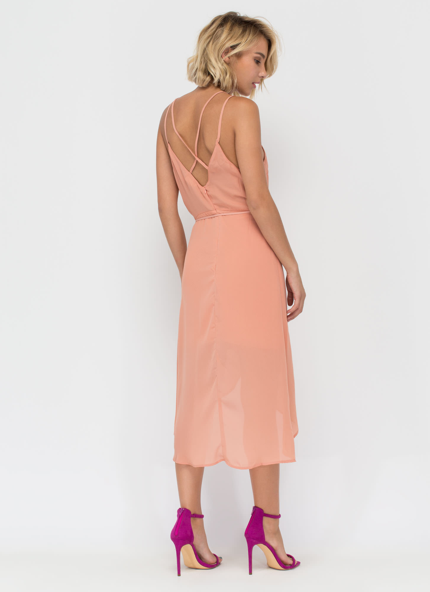 Famously Flirty Woven Surplice Dress BLUSH