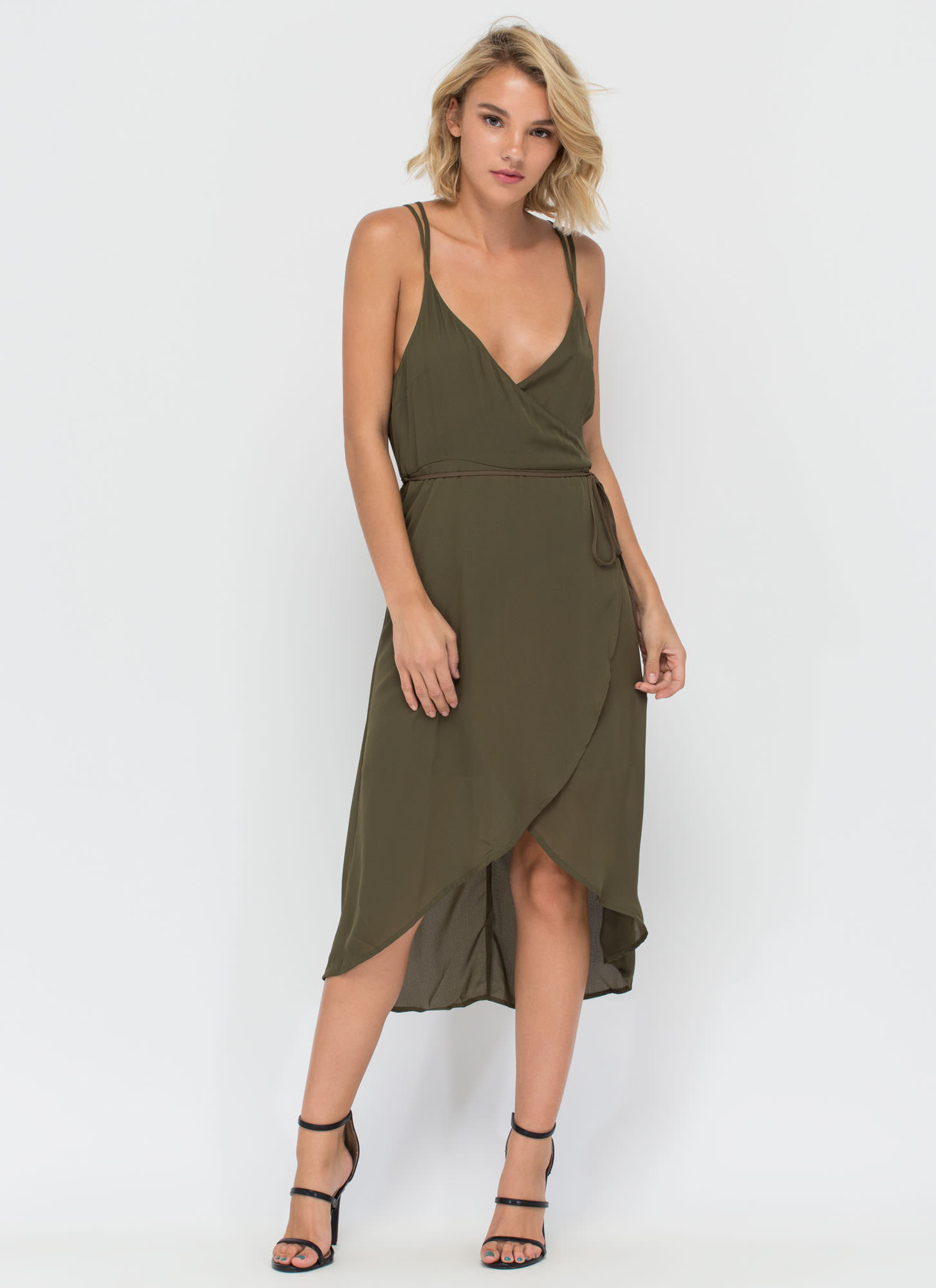 Famously Flirty Woven Surplice Dress OLIVE