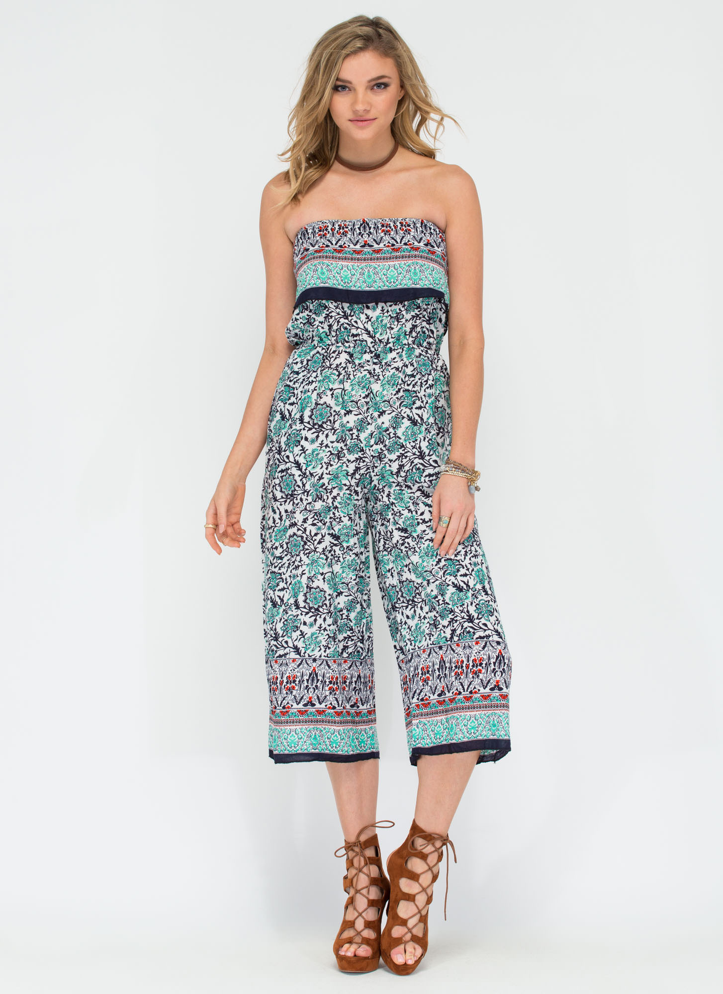 Di-vine Choice Printed Culotte Jumpsuit TURQUOISE