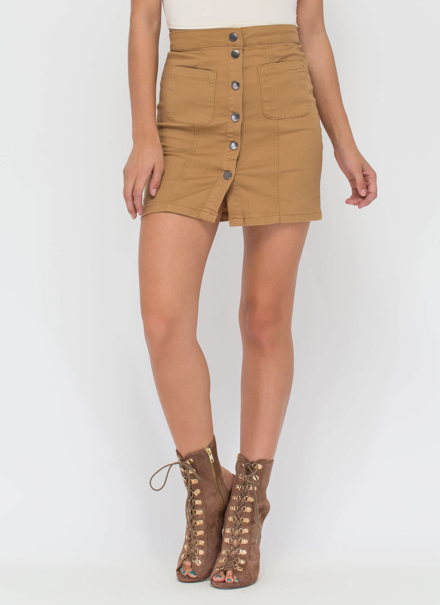 Cute As A Button Denim Miniskirt KHAKI