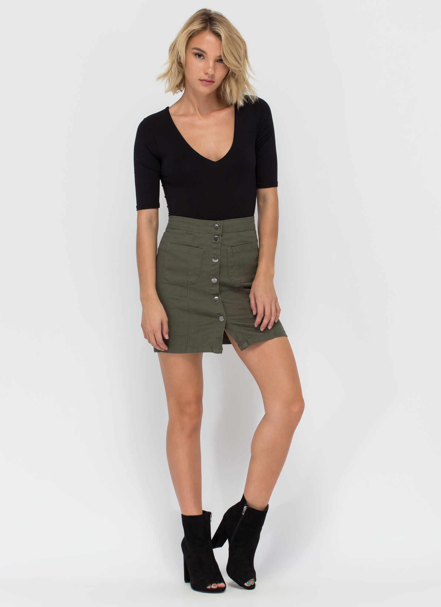 Cute As A Button Denim Miniskirt OLIVE