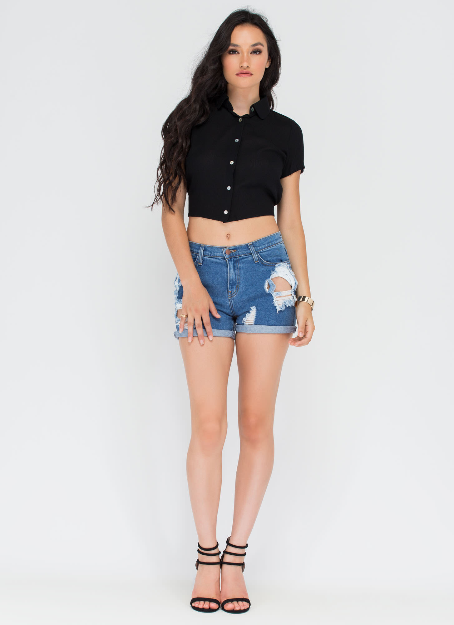 Tied One On Button-Up Crop Top BLACK (Final Sale)