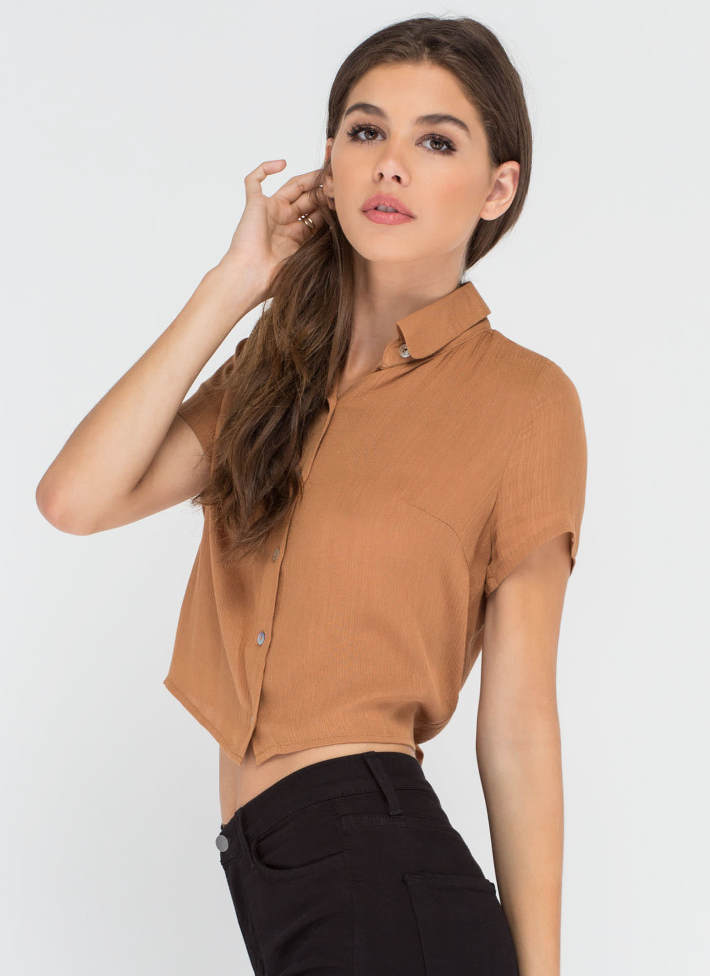 Tied One On Button-Up Crop Top CAMEL
