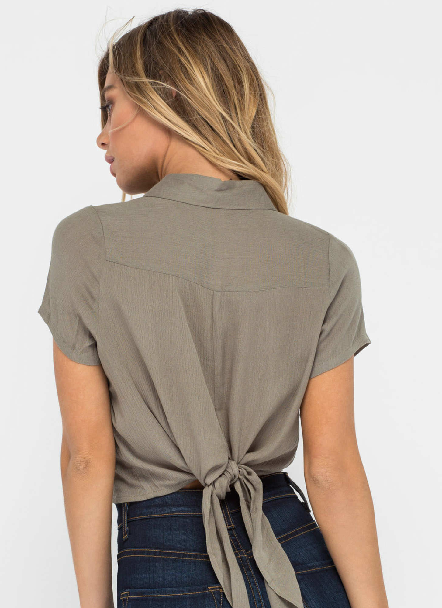 Tied One On Button-Up Crop Top OLIVE