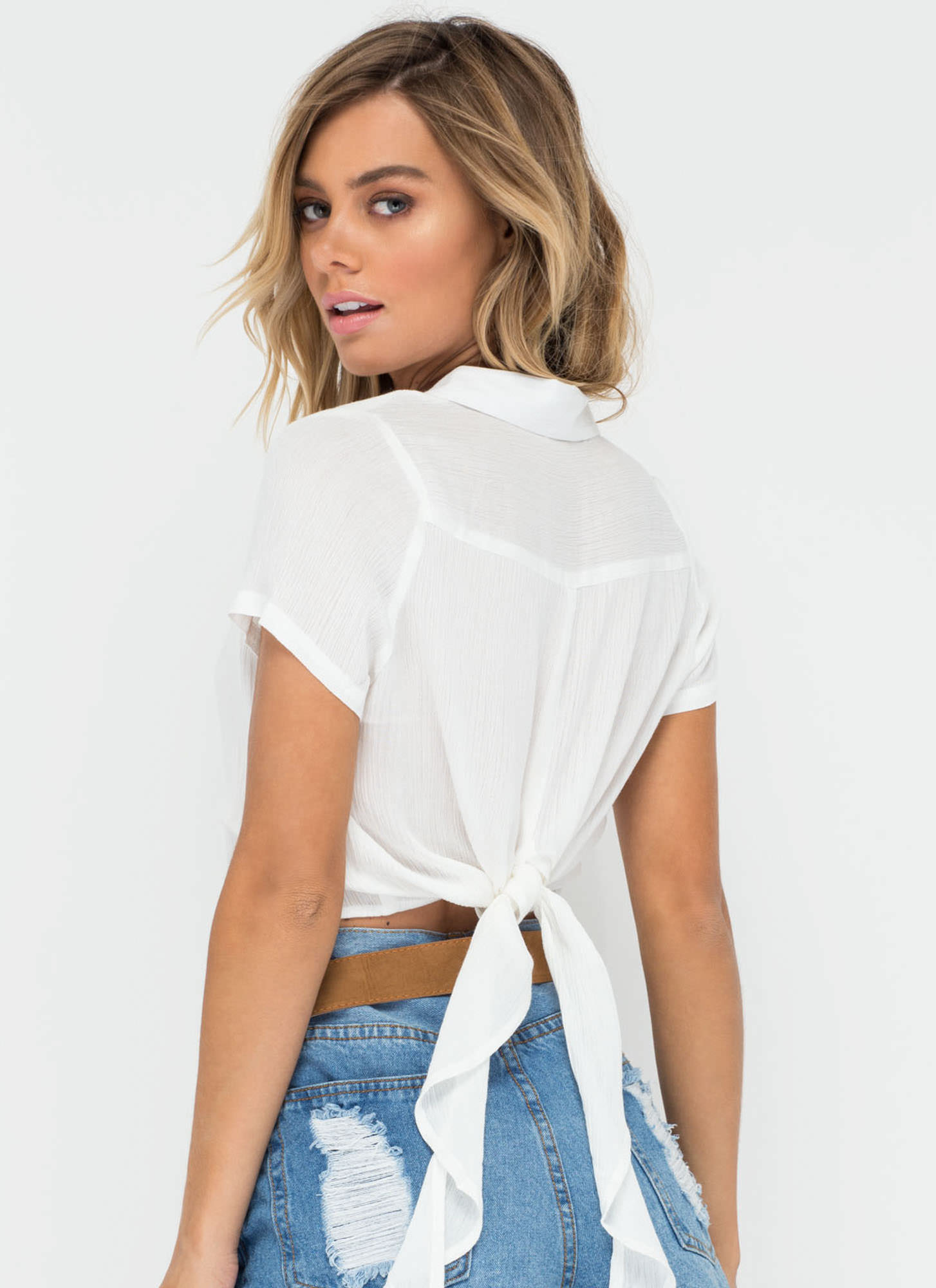 Tied One On Button-Up Crop Top WHITE (Final Sale)