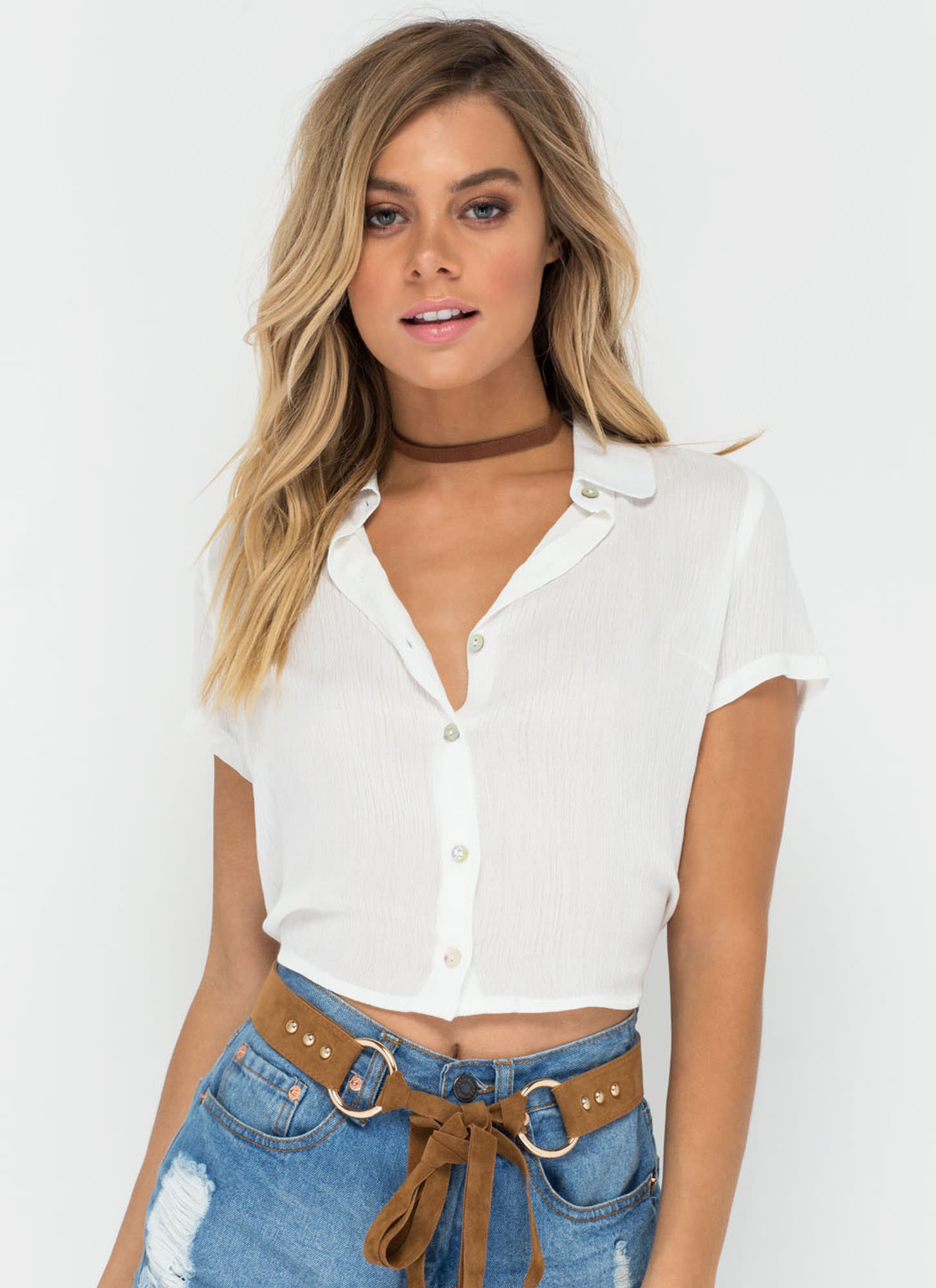 Tied One On Button-Up Crop Top WHITE