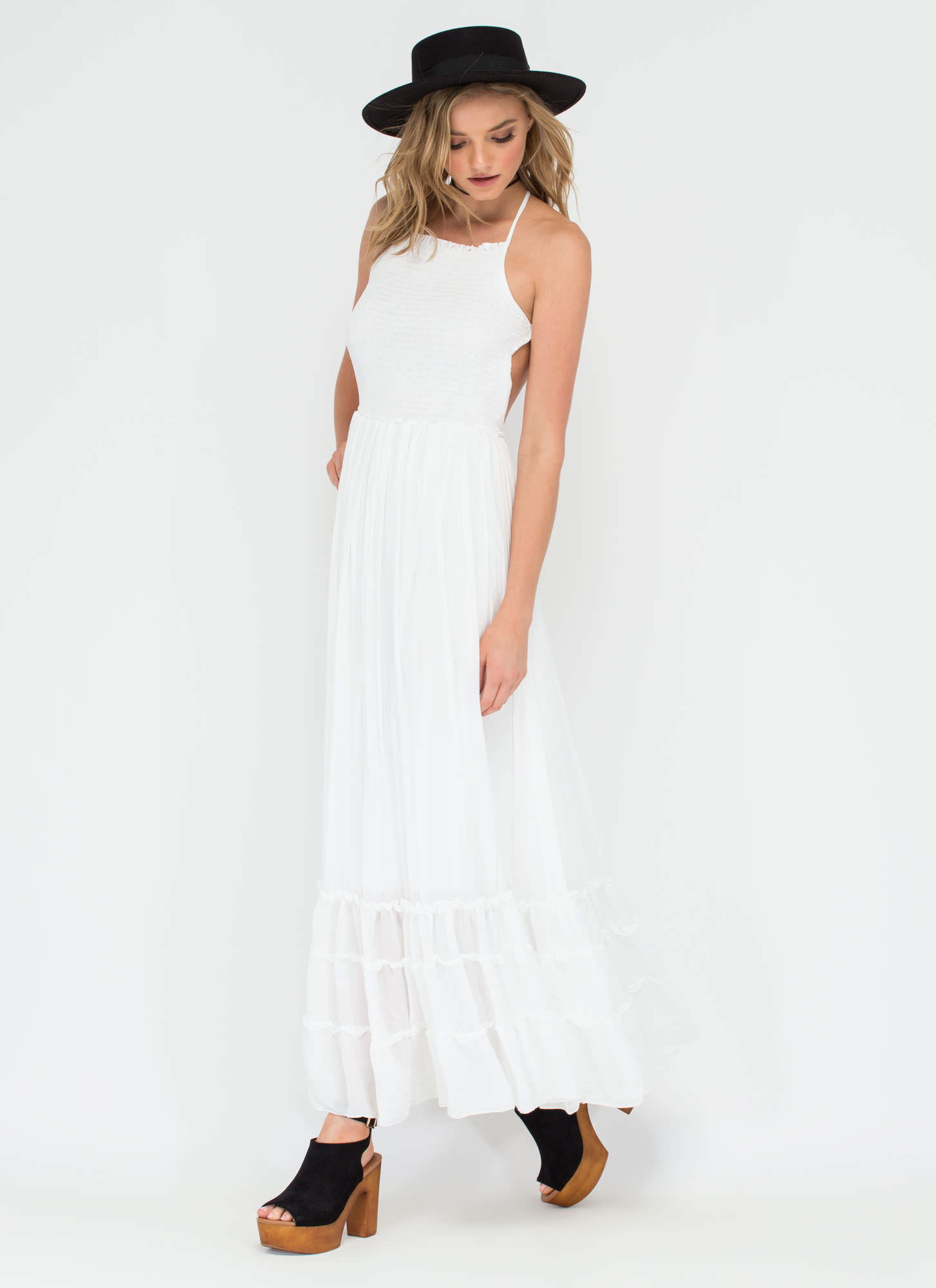 Wind Song Ruffled Maxi Dress WHITE (Final Sale)