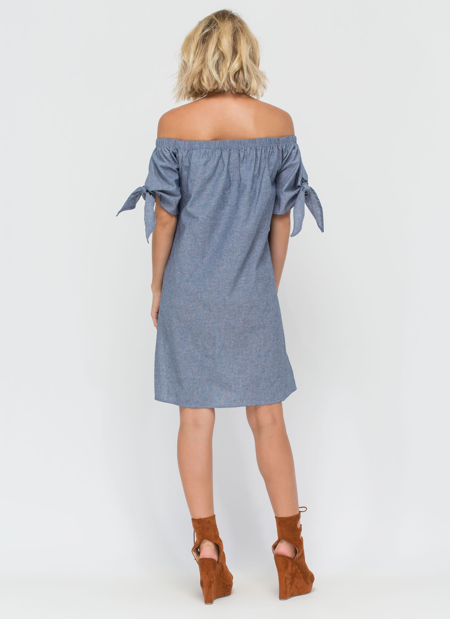 High Tied Off-Shoulder Chambray Dress BLUE