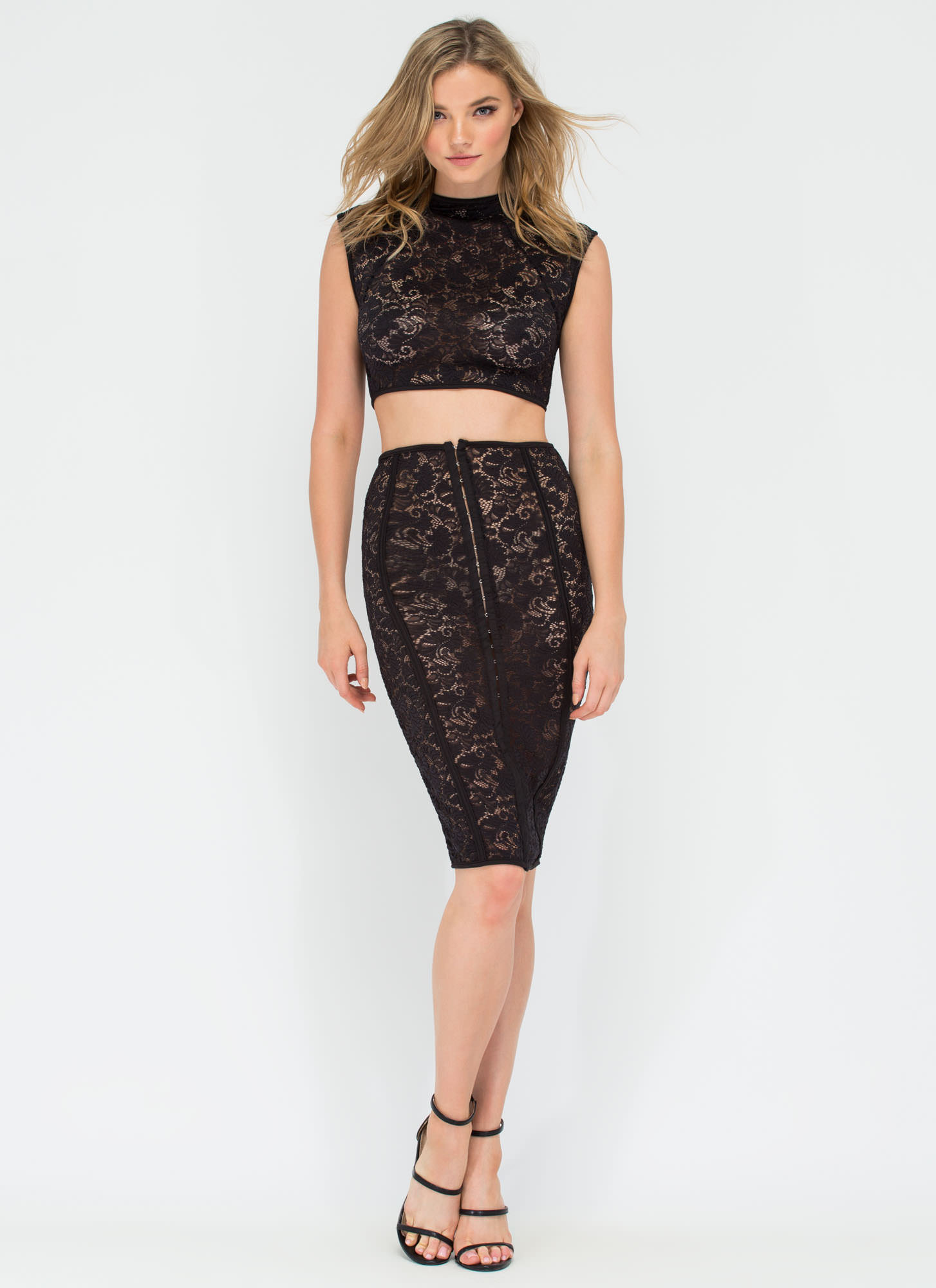 Timeless Beauty Two-Piece Lace Dress BLACK