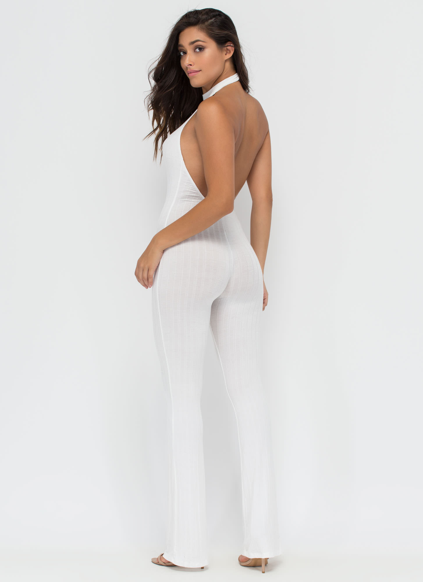 Go All In Ribbed Halter Jumpsuit WHITE
