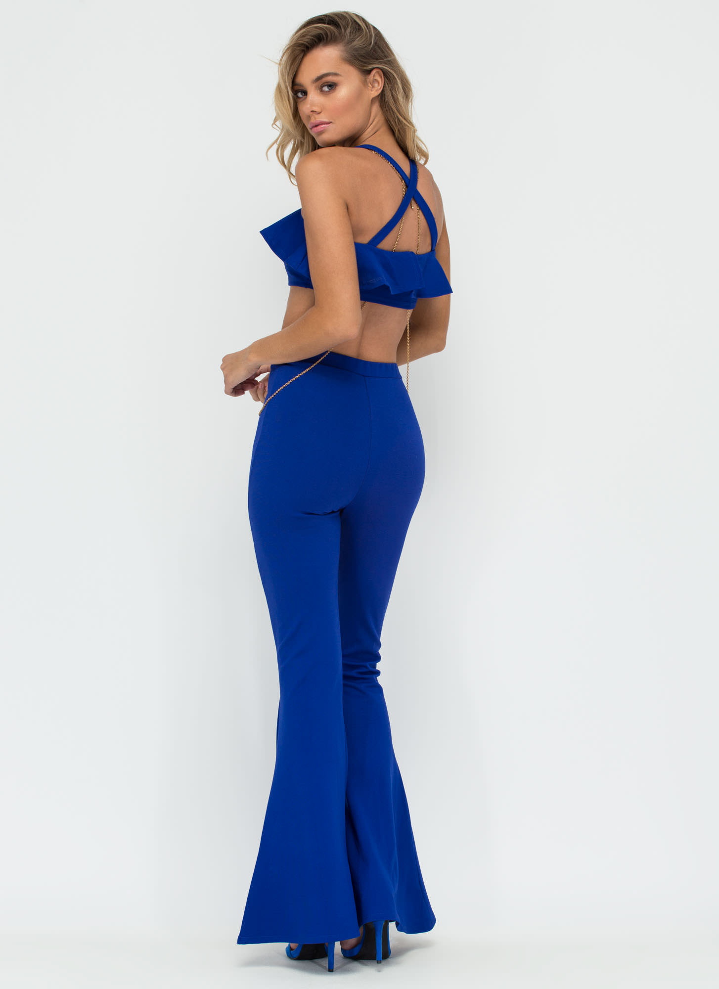 Catch The Fever Crop Top 'N Pants Set ROYAL