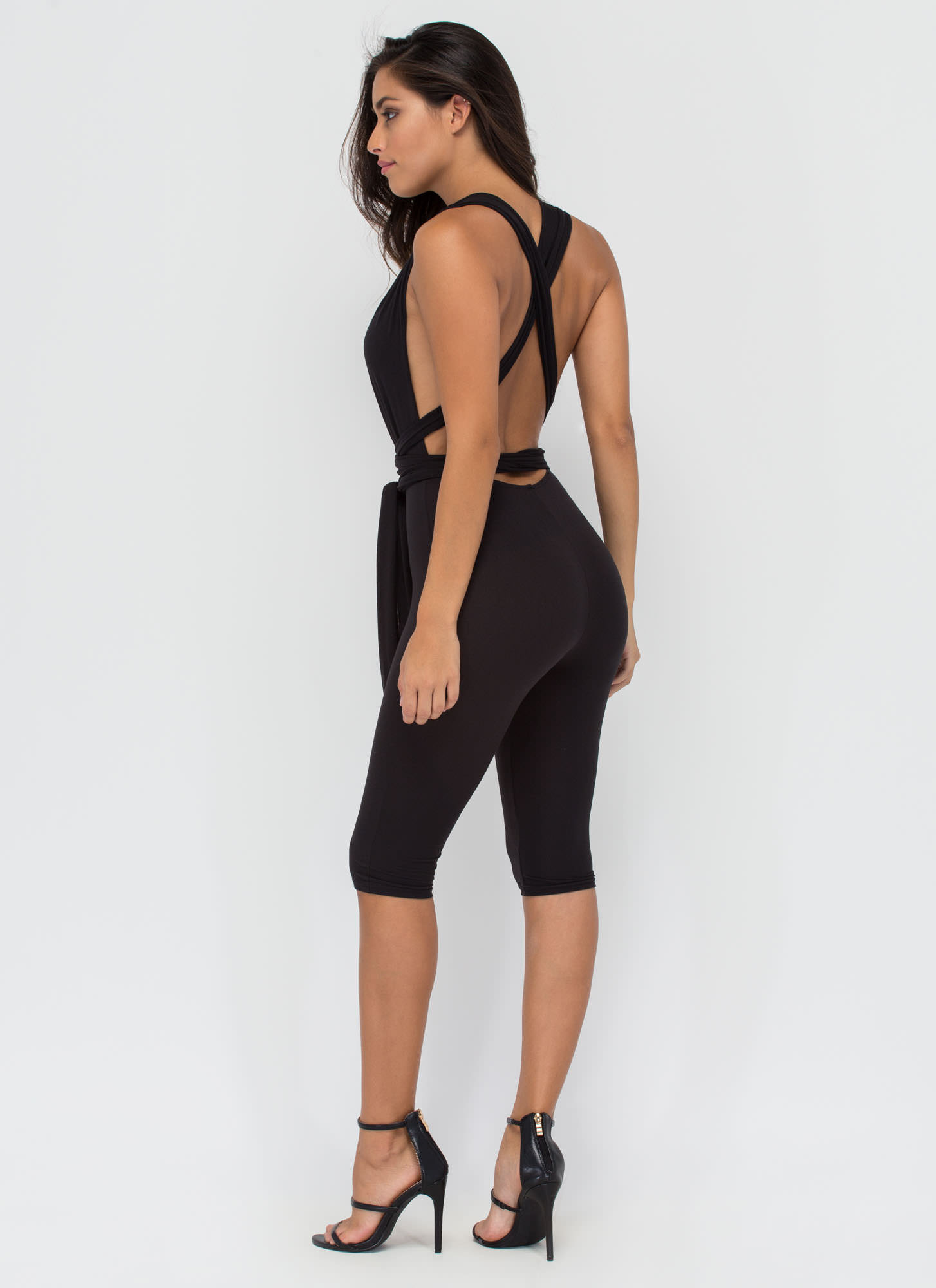 Up To You Cropped Convertible Jumpsuit BLACK