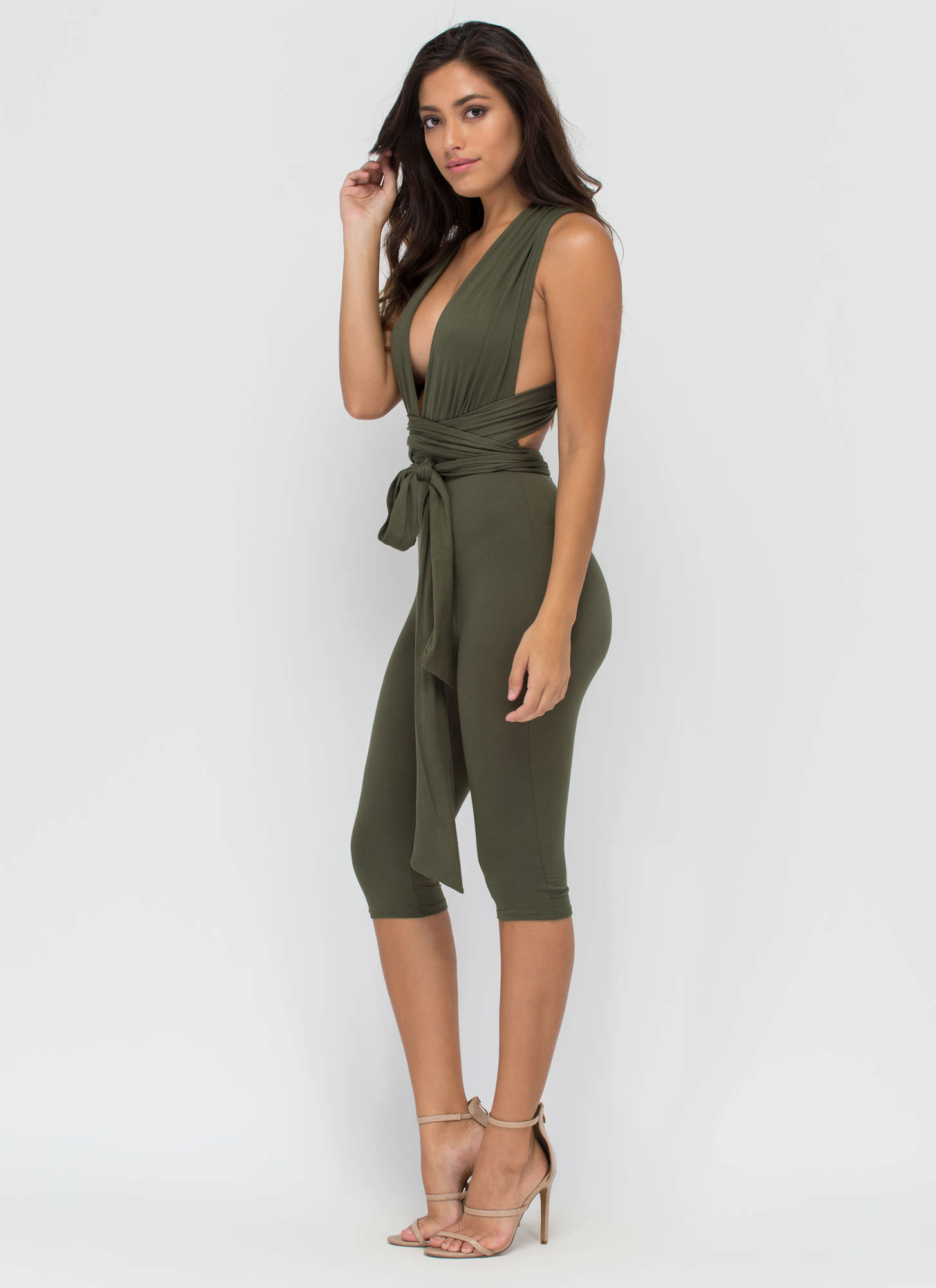 Up To You Cropped Convertible Jumpsuit OLIVE