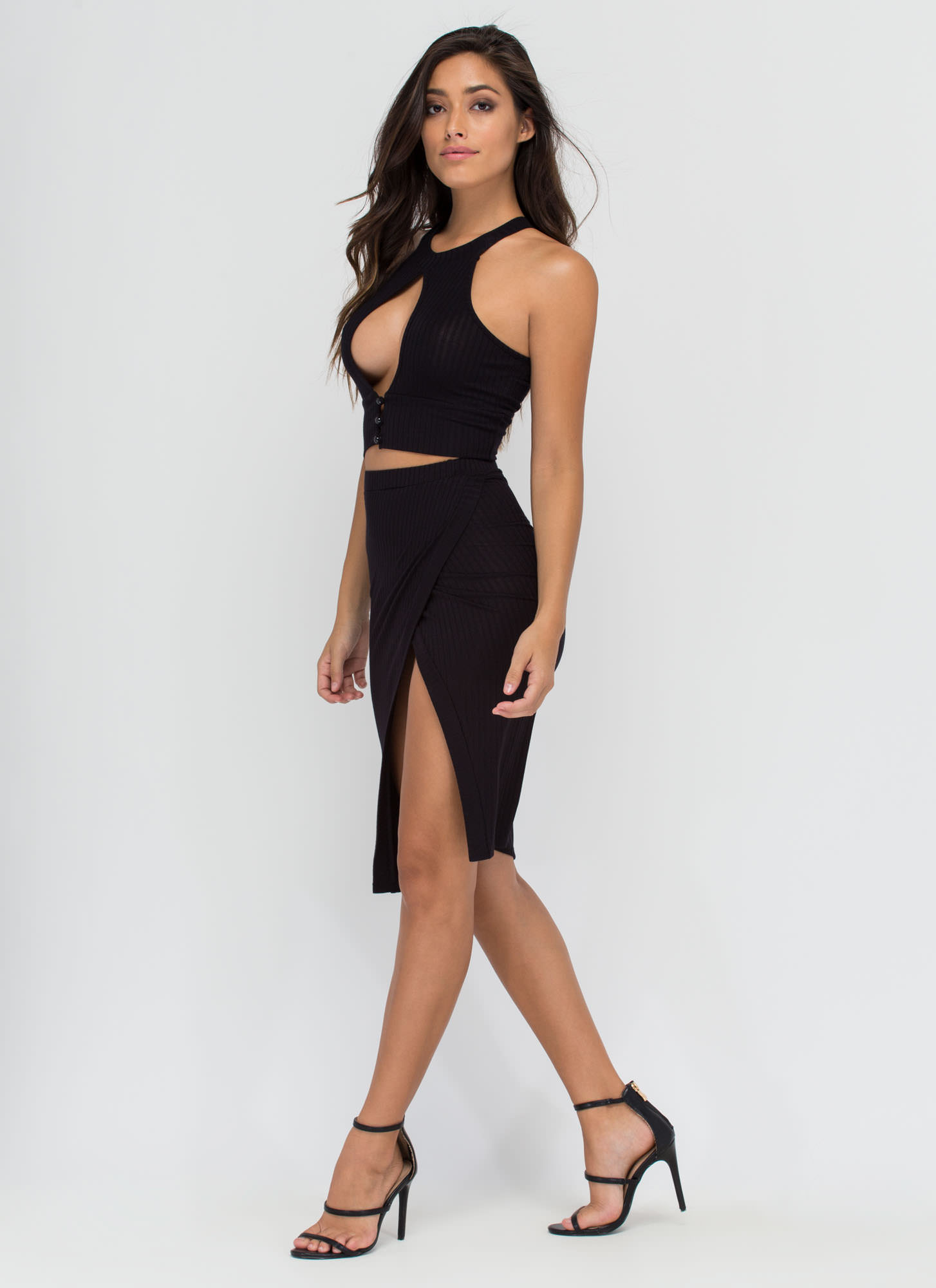 Up Front Ribbed Top And Skirt Set BLACK
