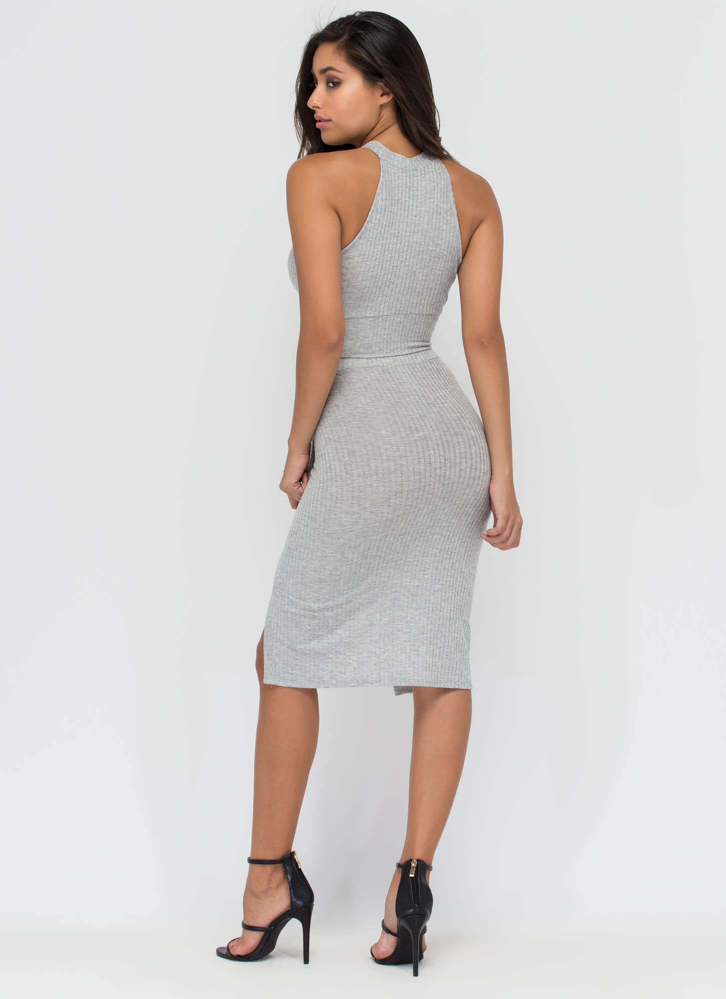 Up Front Ribbed Top And Skirt Set HGREY