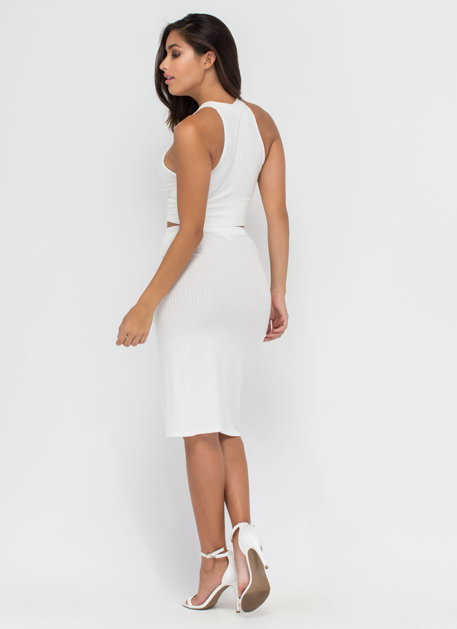 Up Front Ribbed Top And Skirt Set WHITE
