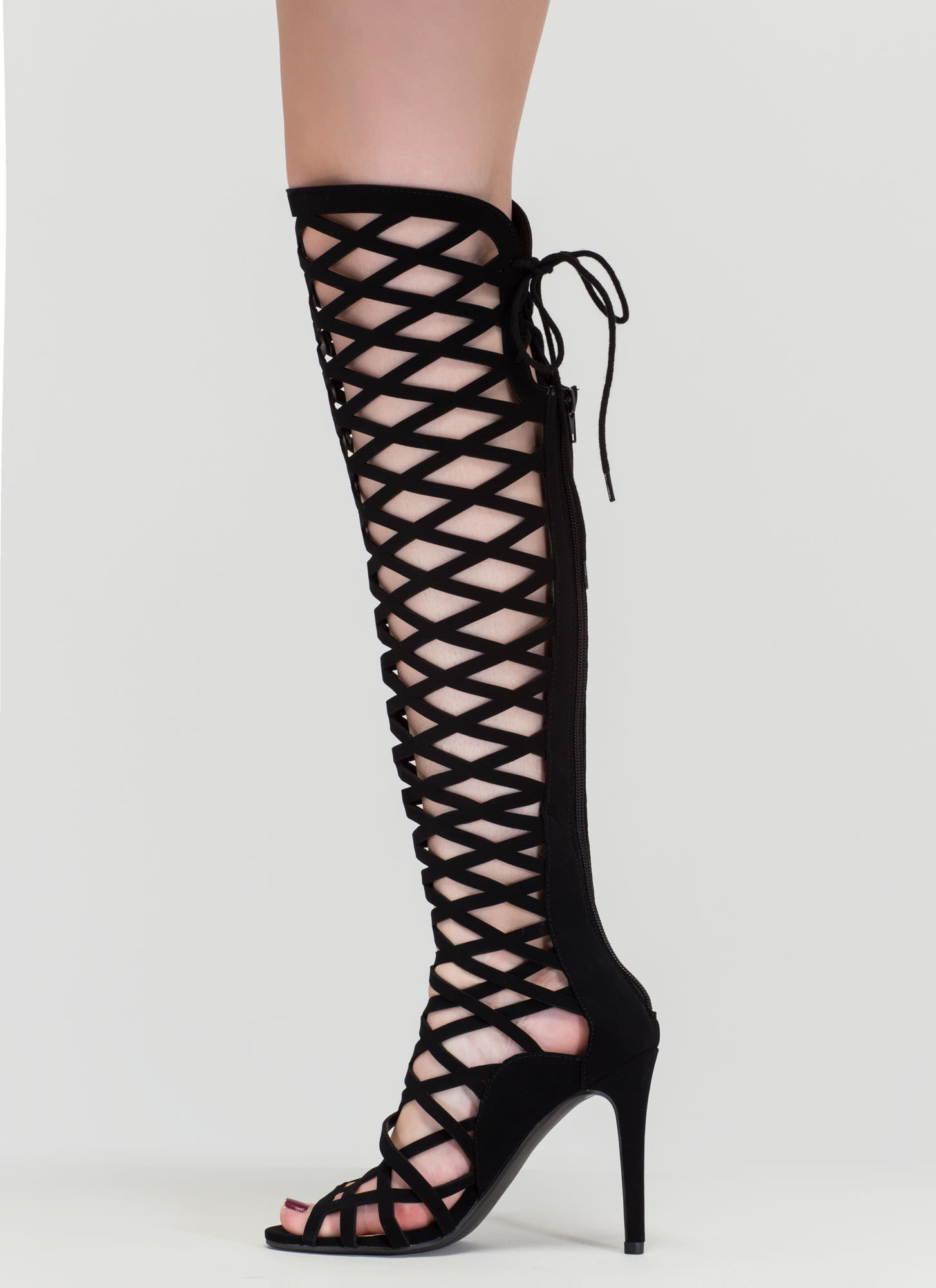 Playing With Fire Caged Gladiator Heels BLACK