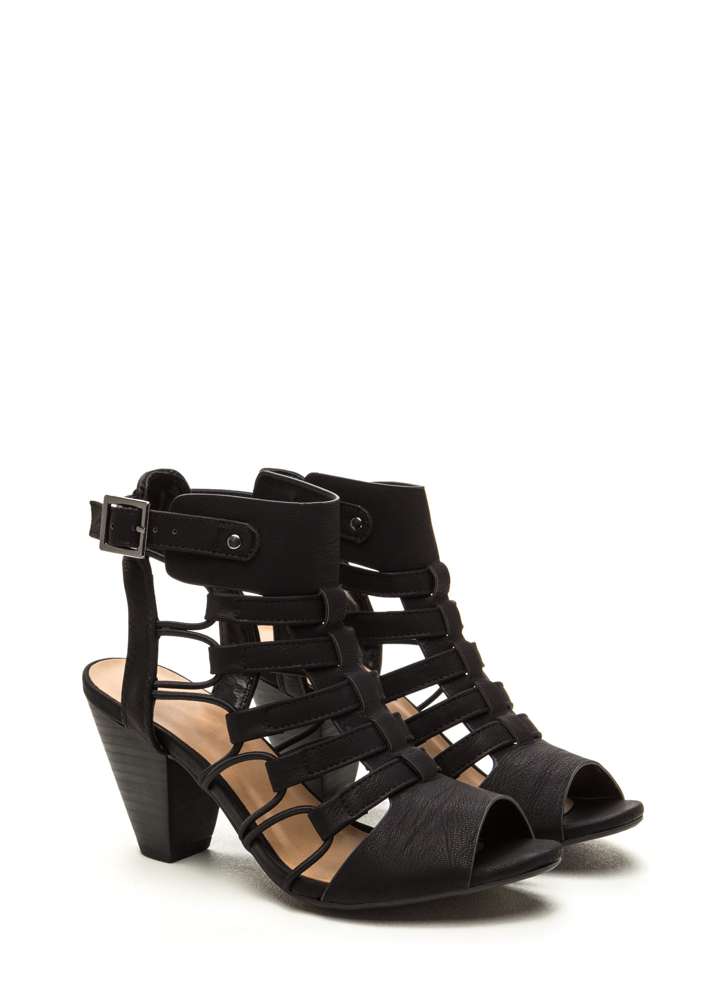 Something New Chunky Caged Heels BLACK