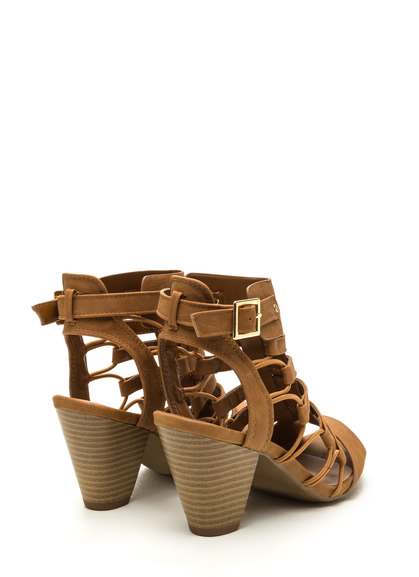 Something New Chunky Caged Heels TAN