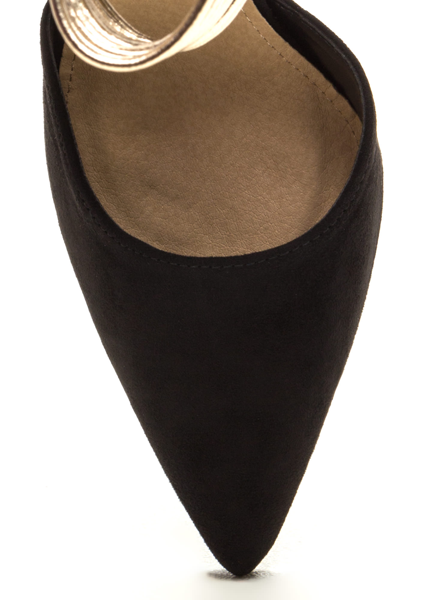 Power Play Pointy Faux Suede Heels BLACKGOLD