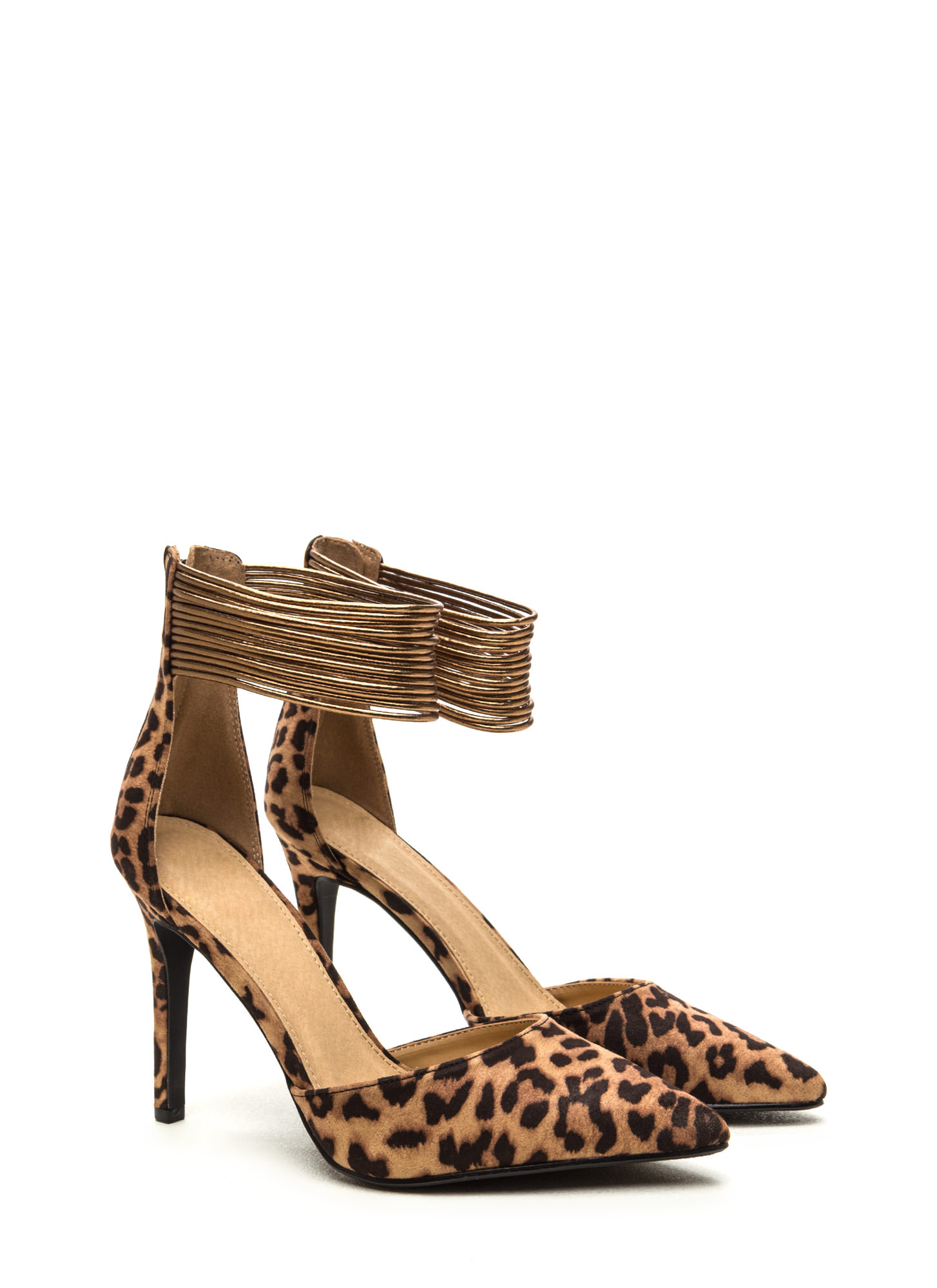 Power Play Pointy Faux Suede Heels TANCHESTNUT