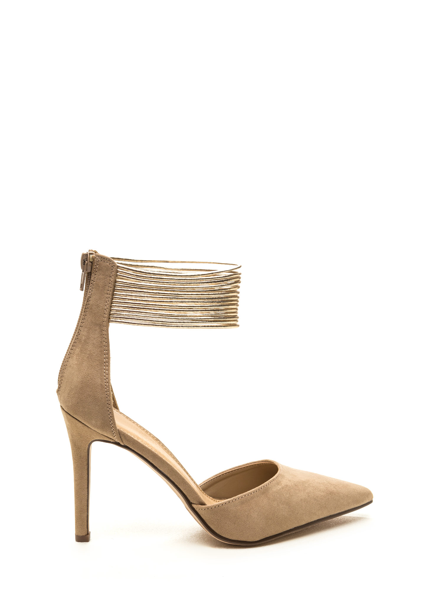 Power Play Pointy Faux Suede Heels TAUPEGOLD