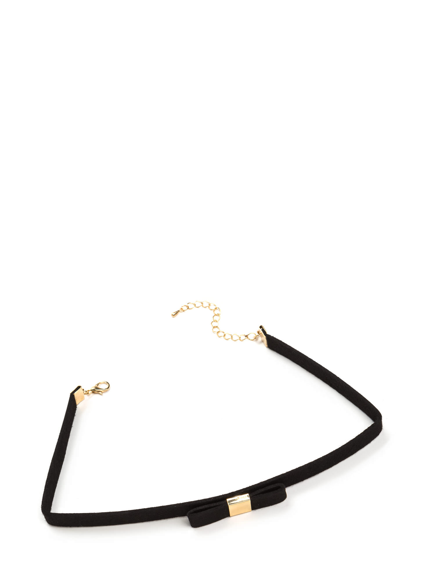 Bow For The Gold Faux Suede Choker BLACKGOLD