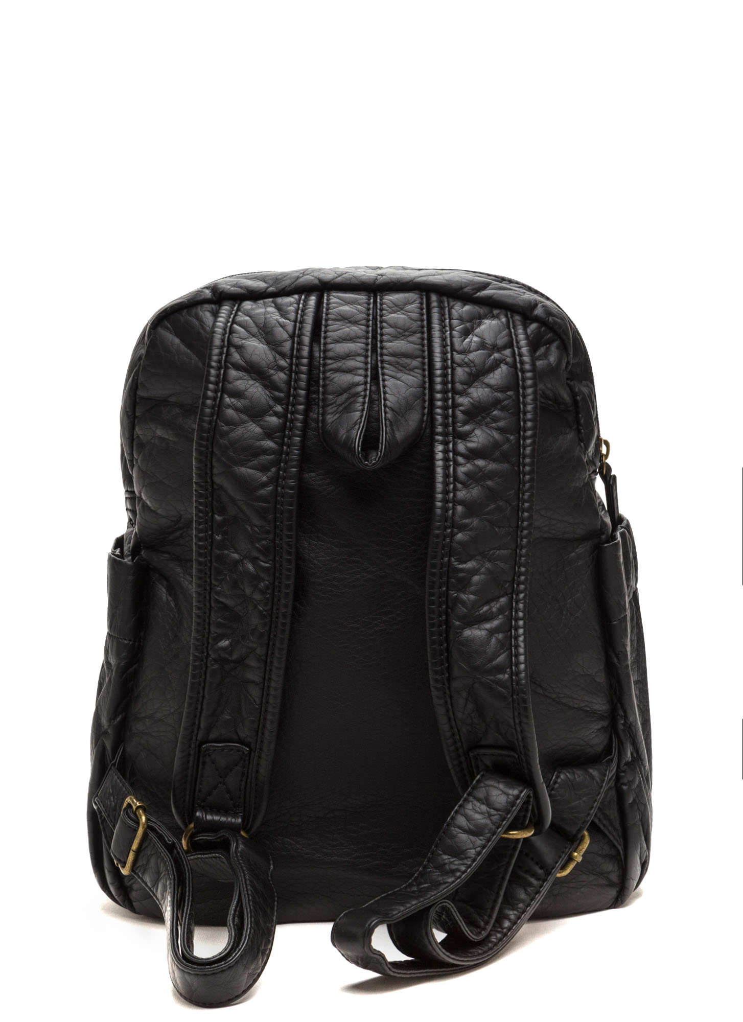 Study Buddy Faux Leather Backpack BLACK