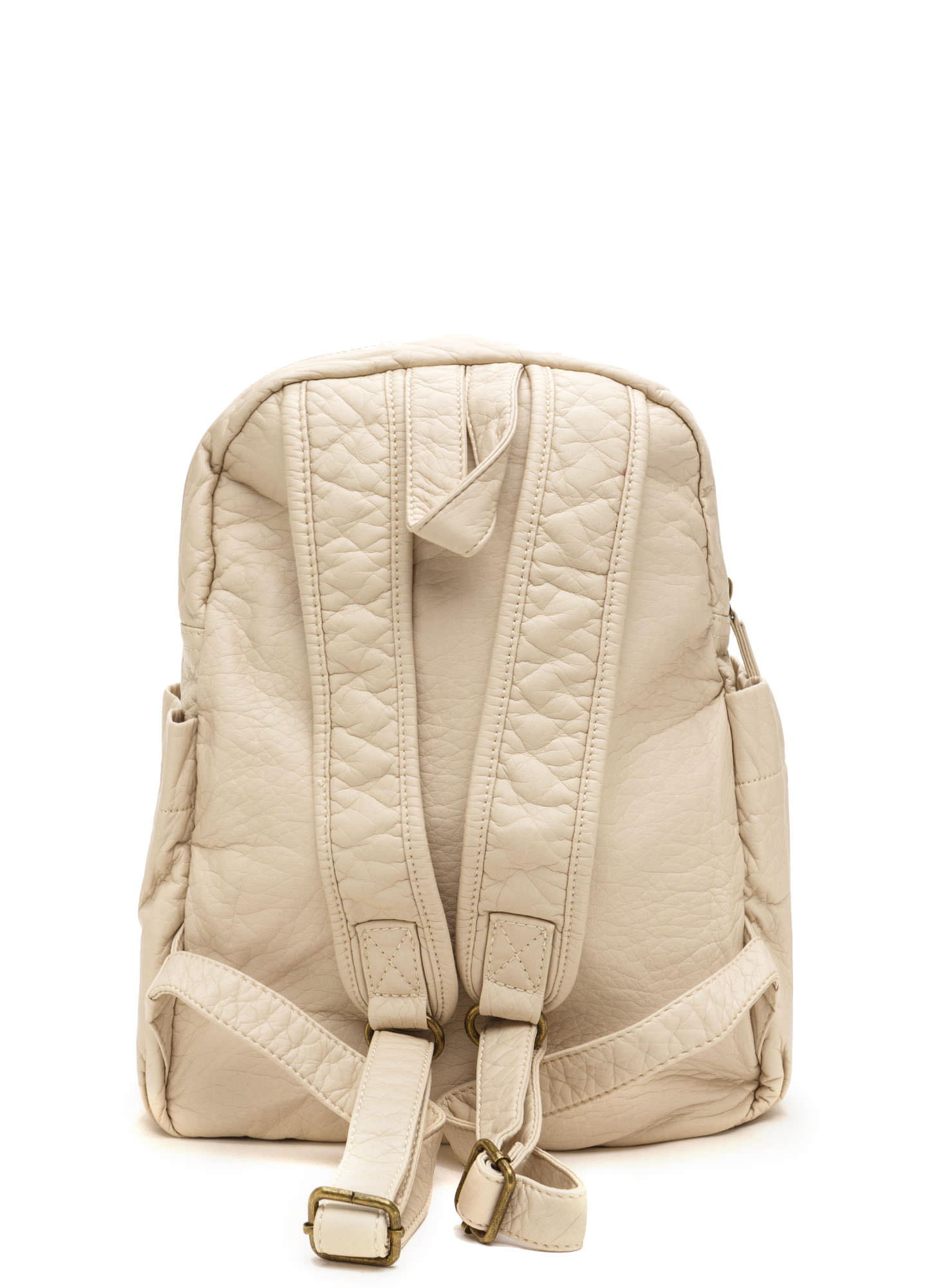 Study Buddy Faux Leather Backpack SAND