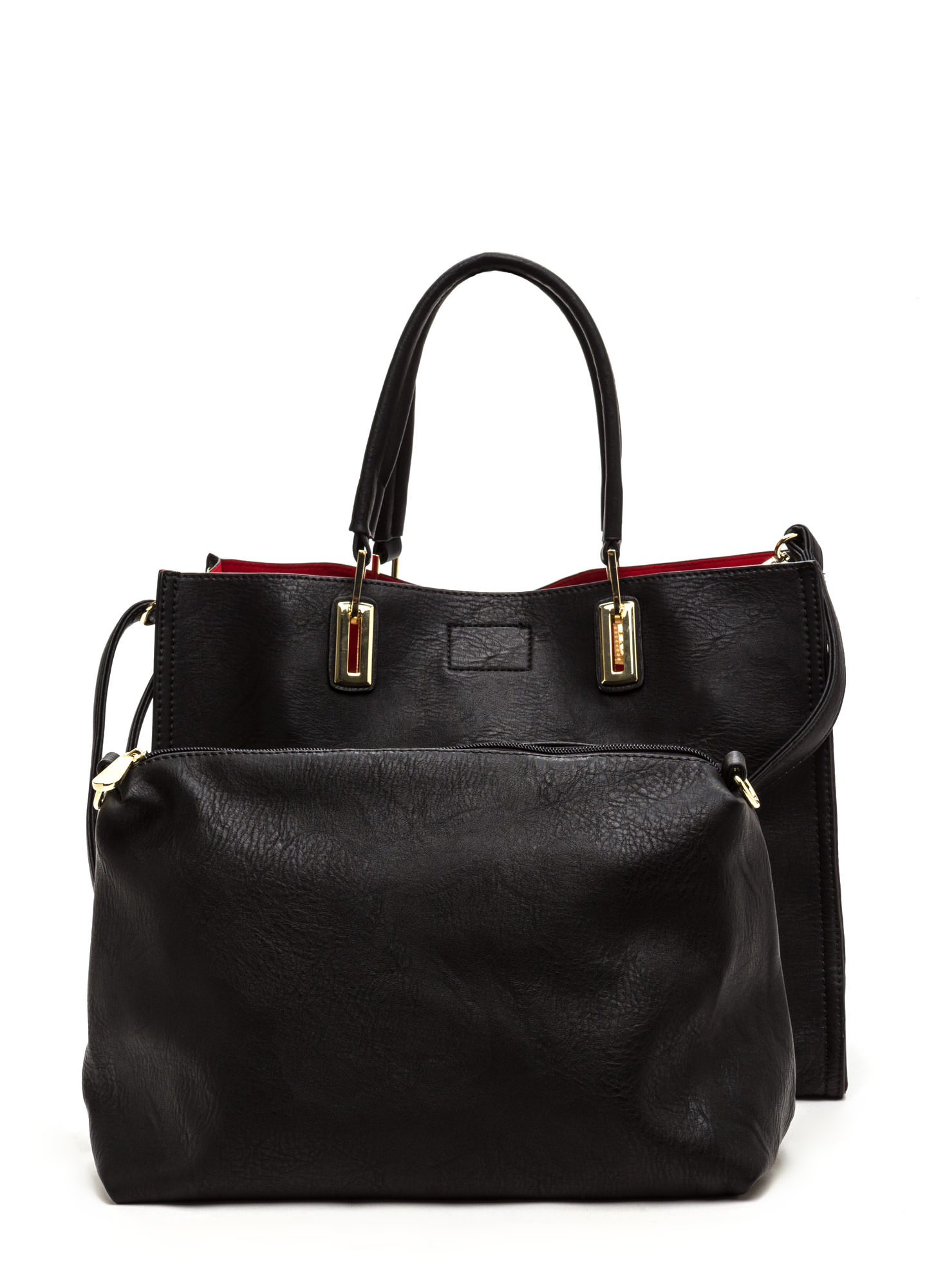 Daily Commute Studded Faux Leather Tote BLACK